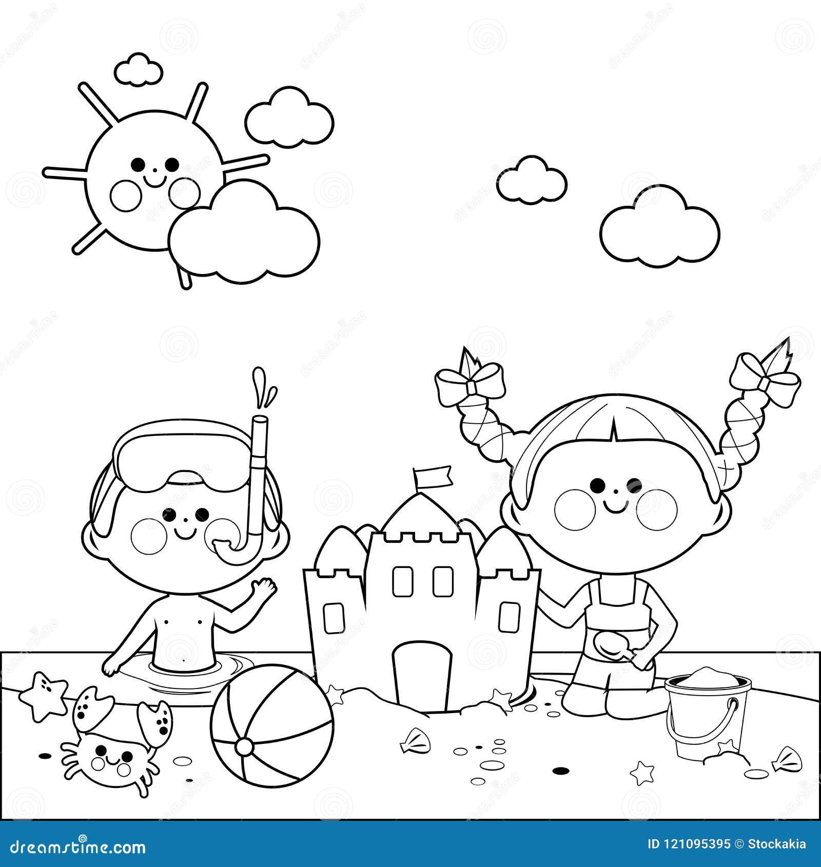 Crianças na natação e na construção da praia um castelo de areia Página preto e branco do livro para colorir