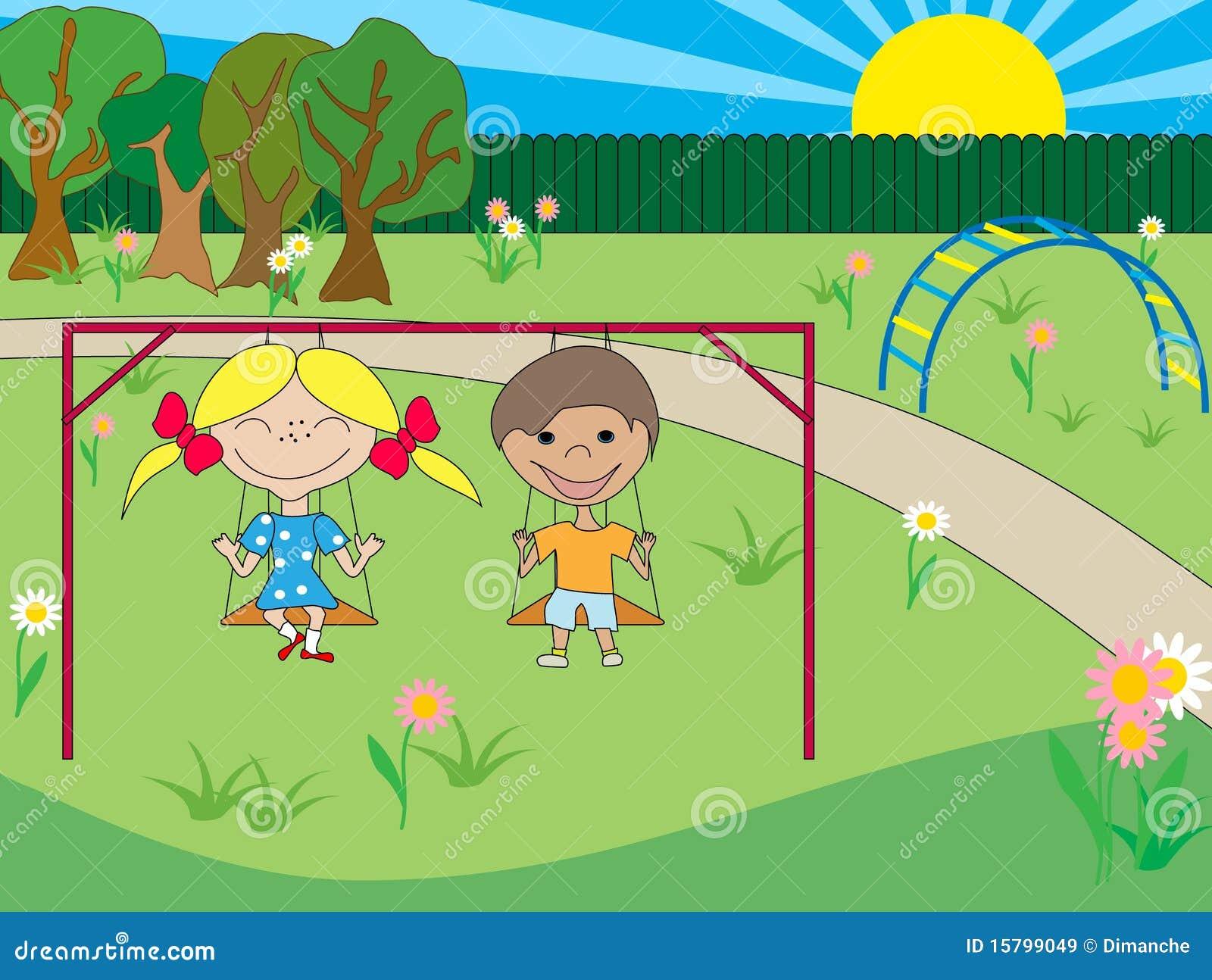 Crianças Se Divertindo No Parque: Crianças No Parque Ilustração Do Vetor. Ilustração De