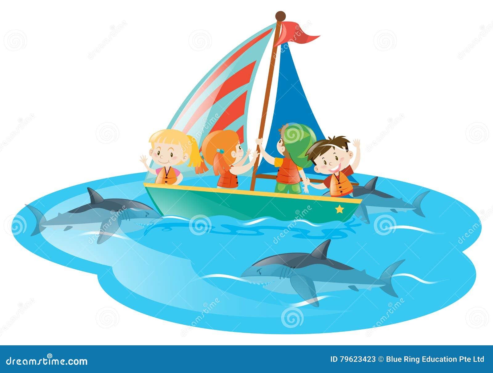 Crianças nos tubarões de observação do barco que nadam