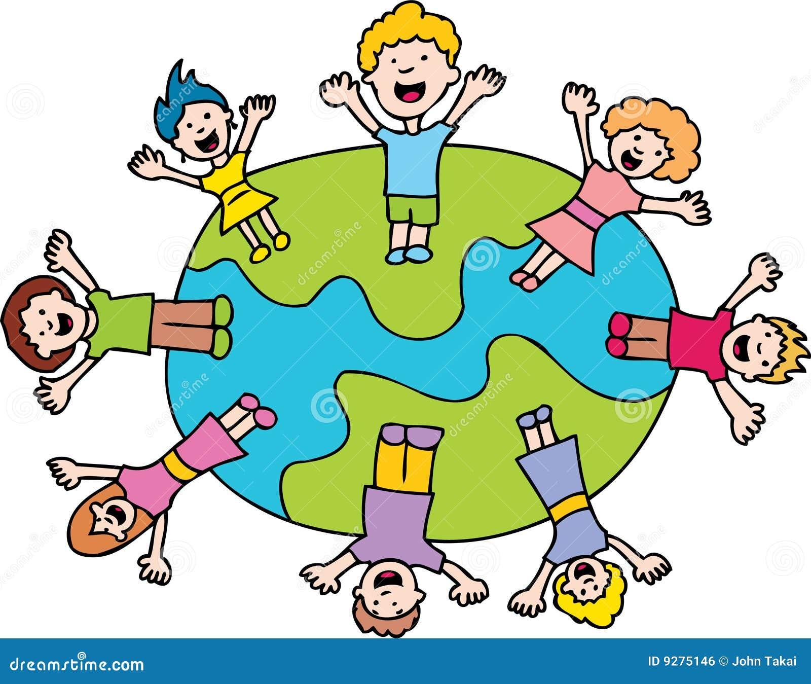 Crianças que acenam em torno do mundo