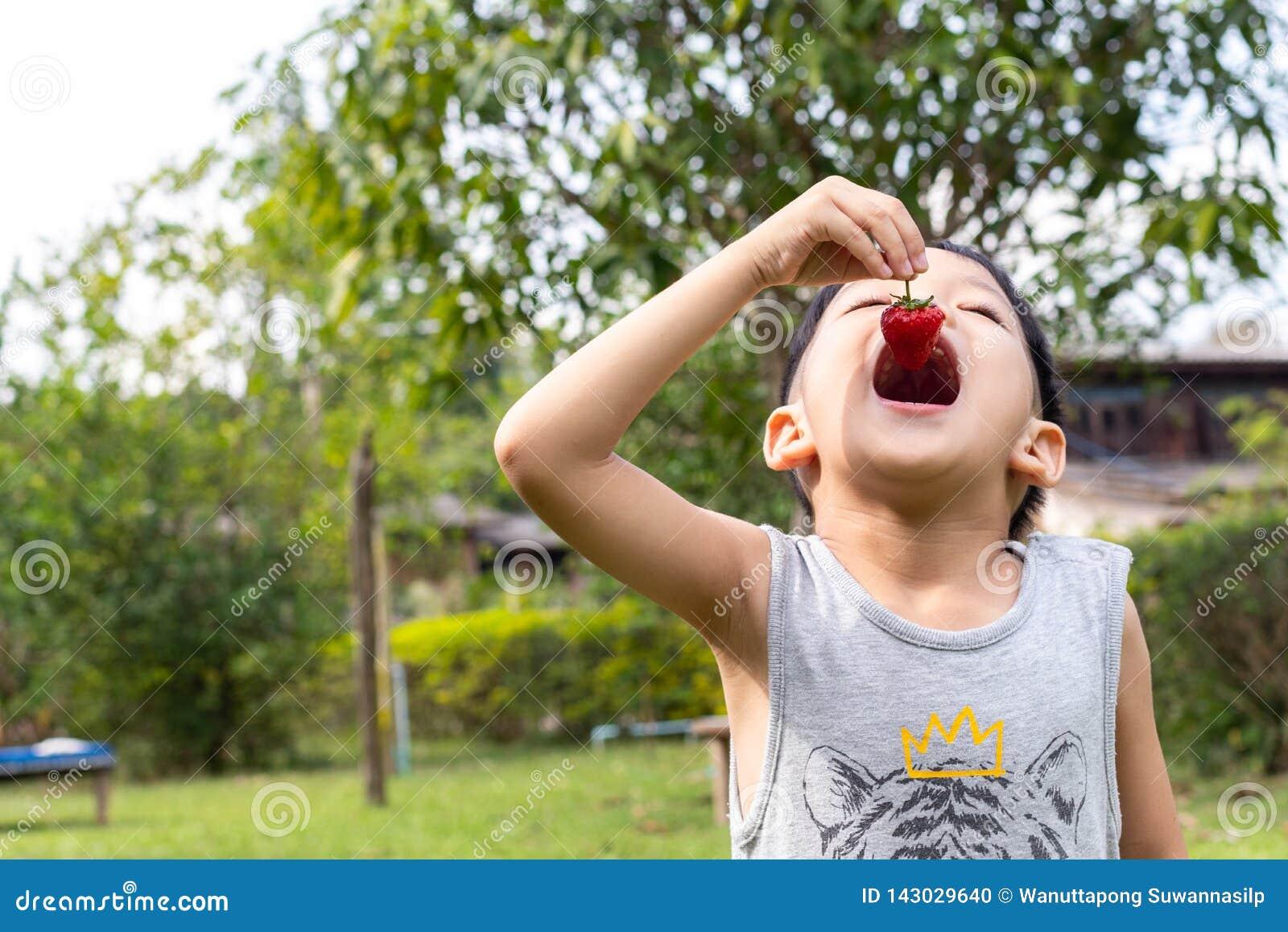 Crianças que comem morangos