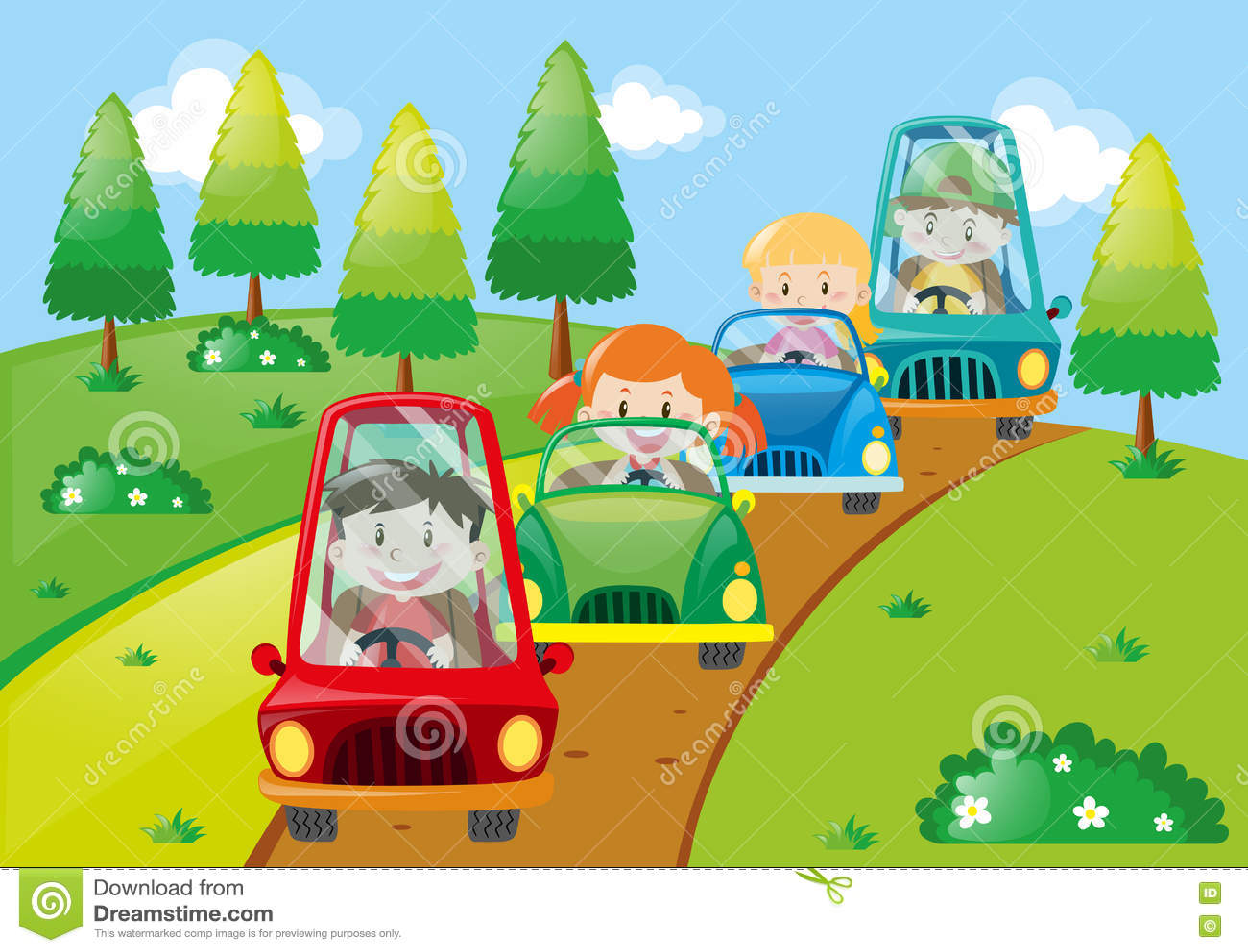 Crianças que conduzem carros no parque