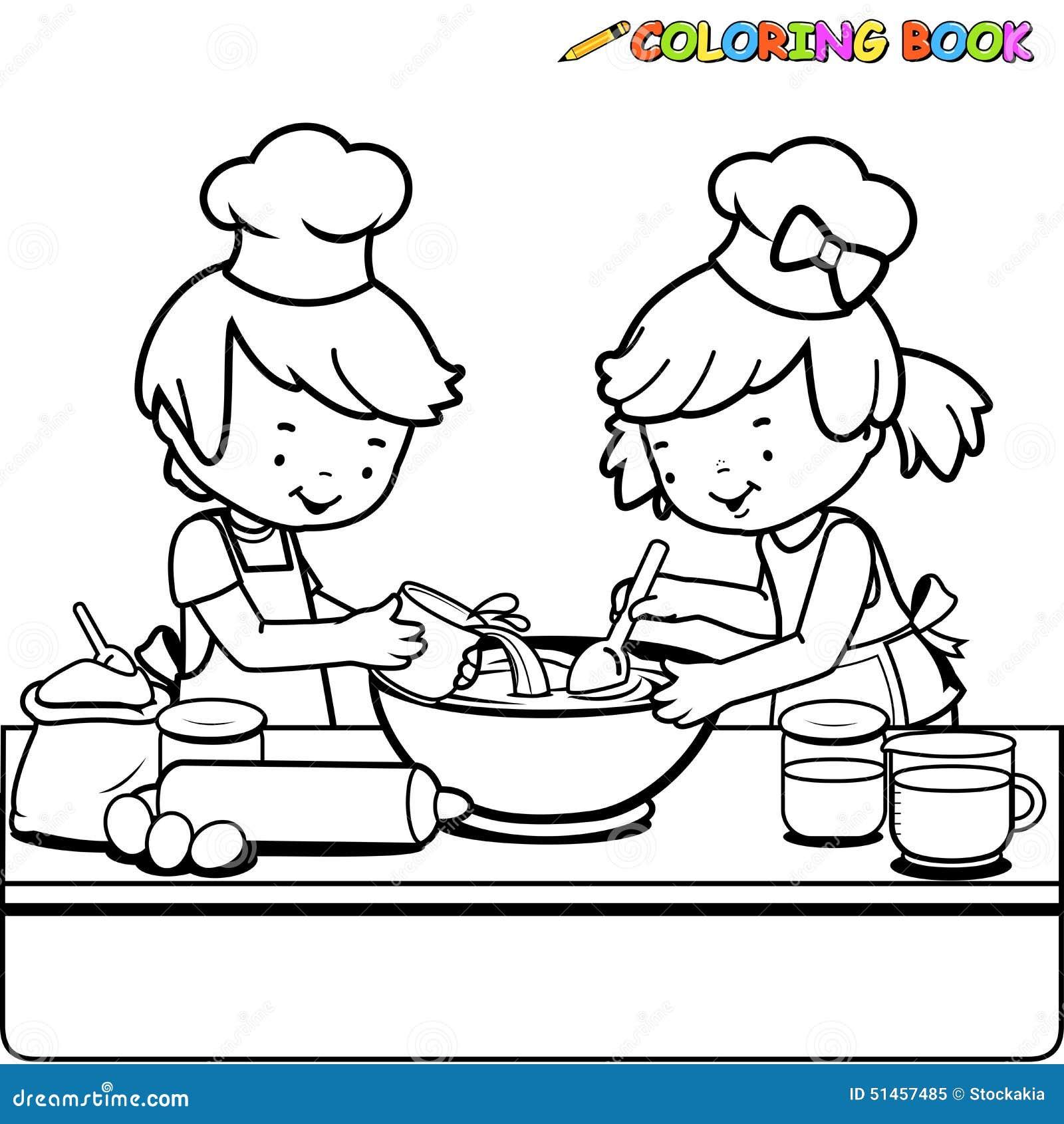 Crian As Que Cozinham A P Gina Do Livro Para Colorir Ilustra O Do  ~ Desenhos Para Colorir Cozinha