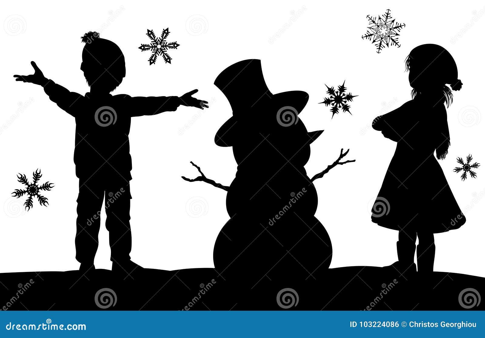 Crianças que fazem a cena da silhueta do Natal do boneco de neve