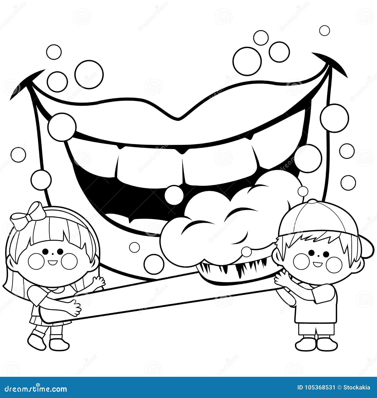 Criancas Que Guardam Uma Escova De Dentes E Que Escovam Os Dentes