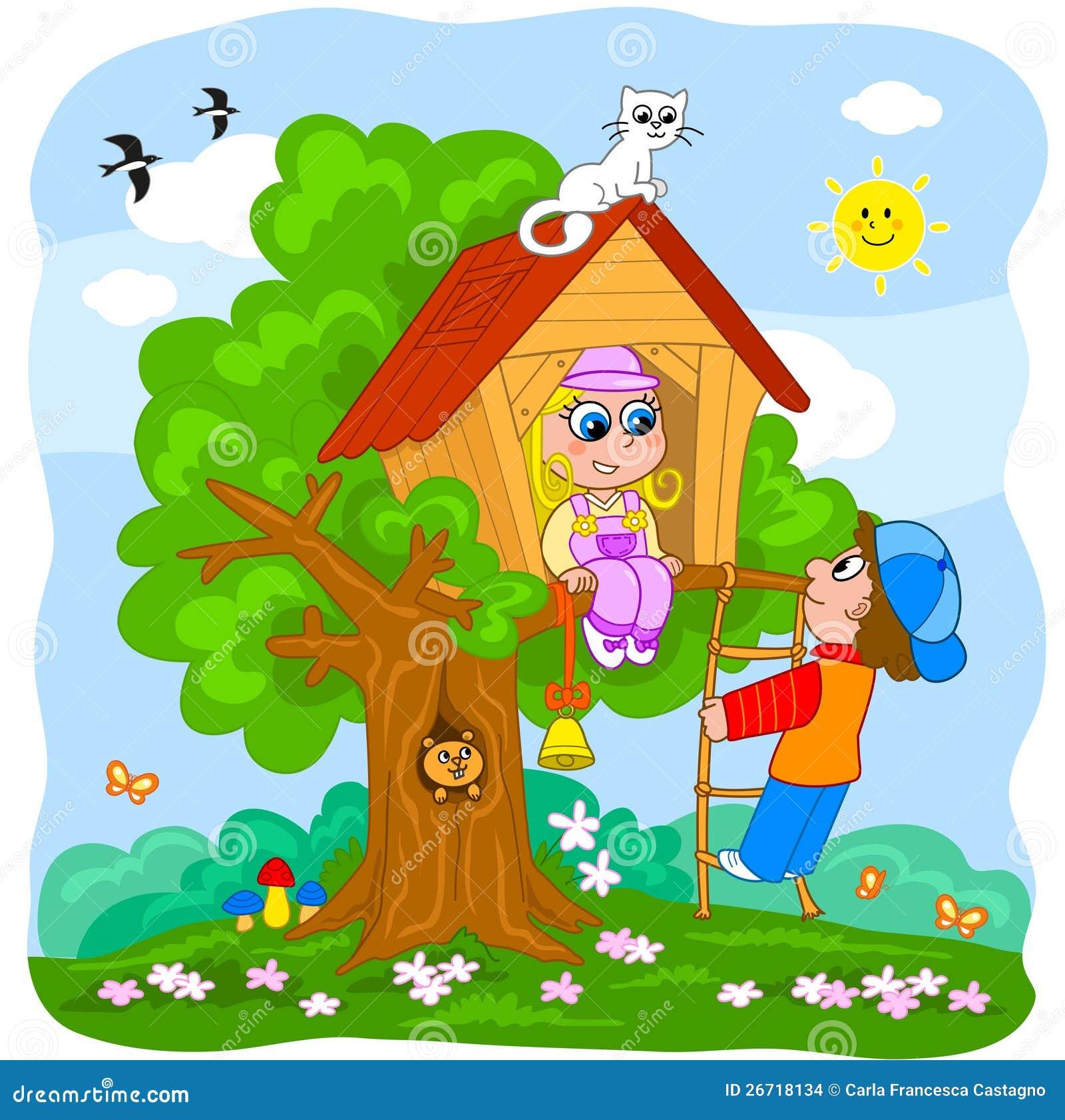 Crian 231 As Que Jogam Em Uma Casa De 225 Rvore Imagens De Stock