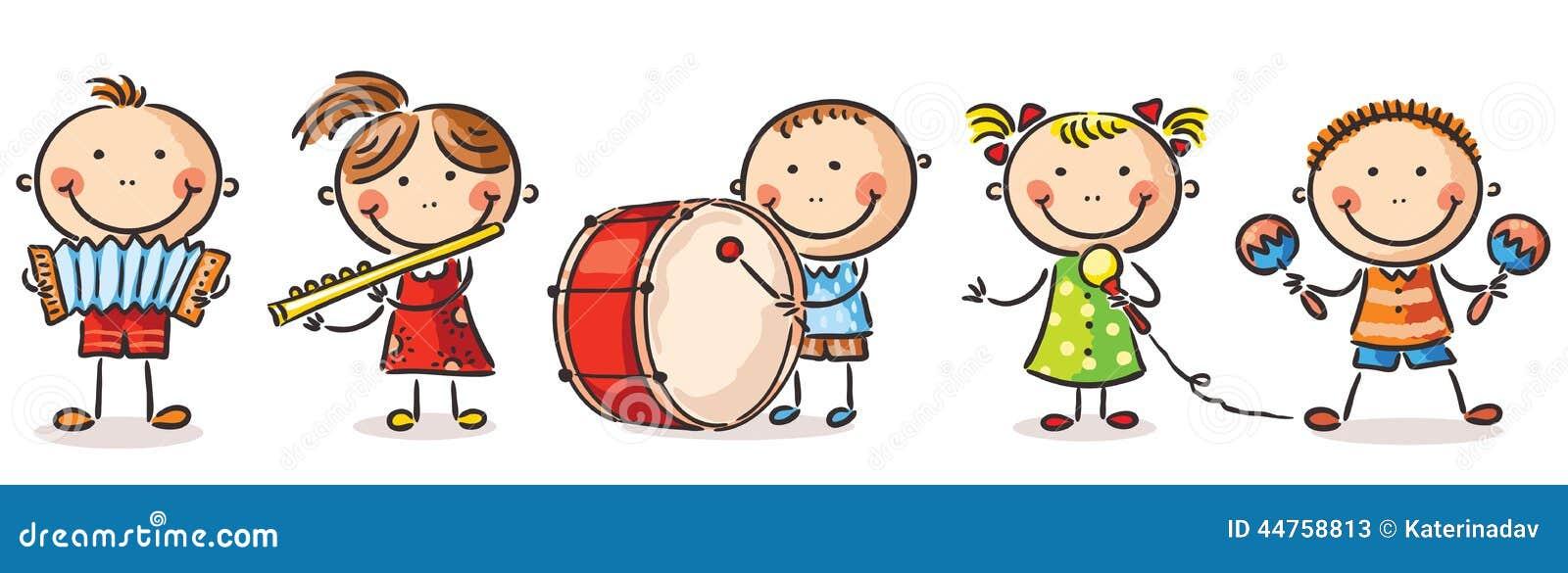 Crianças Que Jogam O Futebol Nos Desenhos Animados Do: Crianças Que Jogam Instrumentos Musicais Diferentes