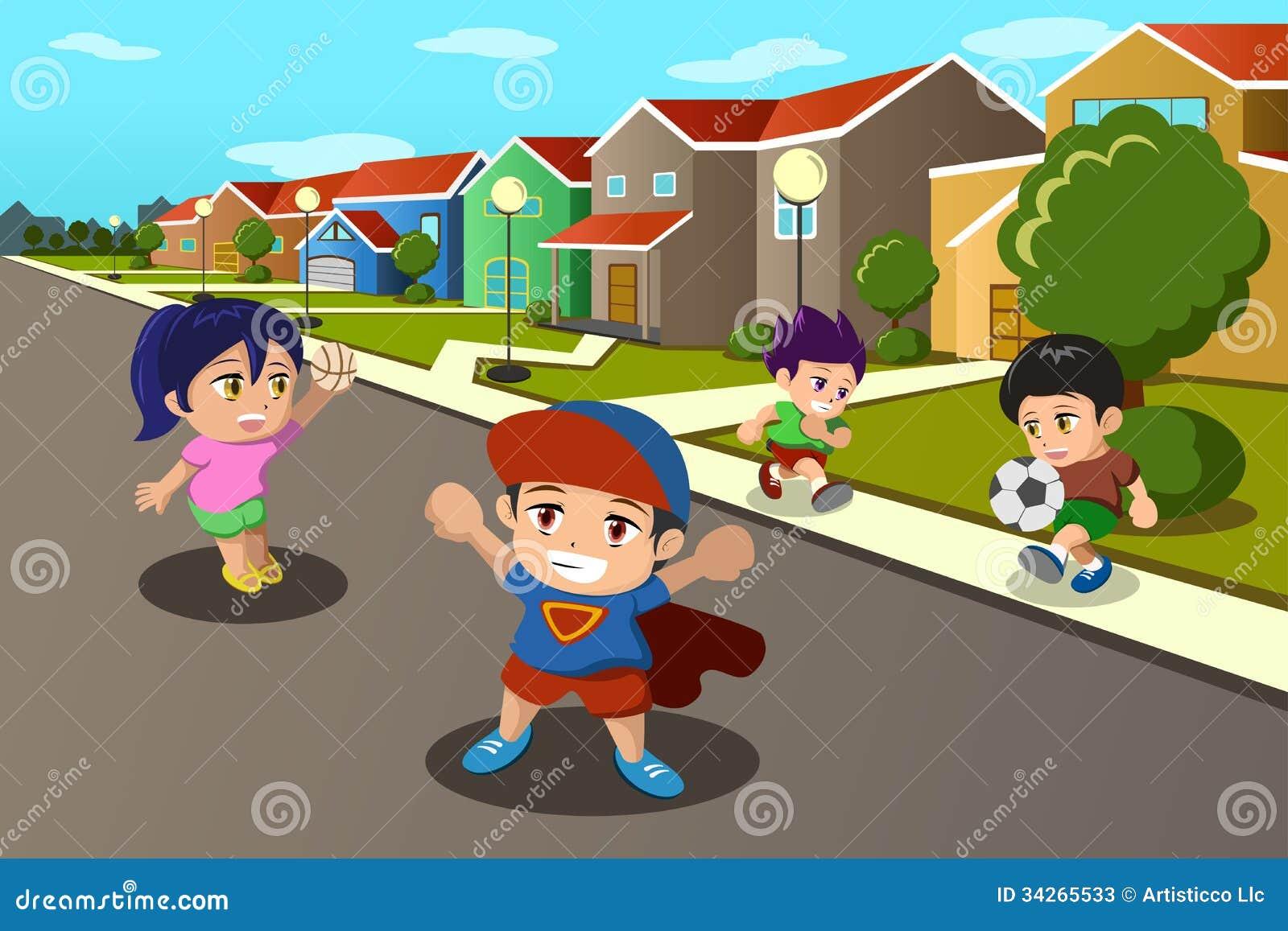 Crianças Que Jogam O Futebol Nos Desenhos Animados Do: Crianças Que Jogam Na Rua De Uma Vizinhança Suburbana
