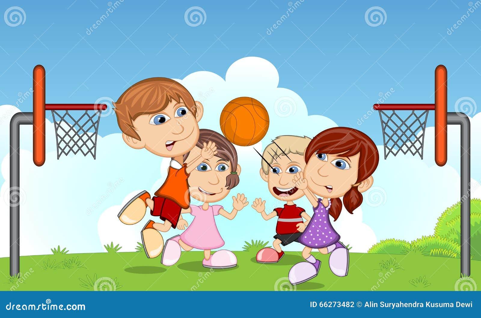 Crianças Que Jogam O Futebol Nos Desenhos Animados Do: Crianças Que Jogam O Basquetebol Nos Desenhos Animados Do
