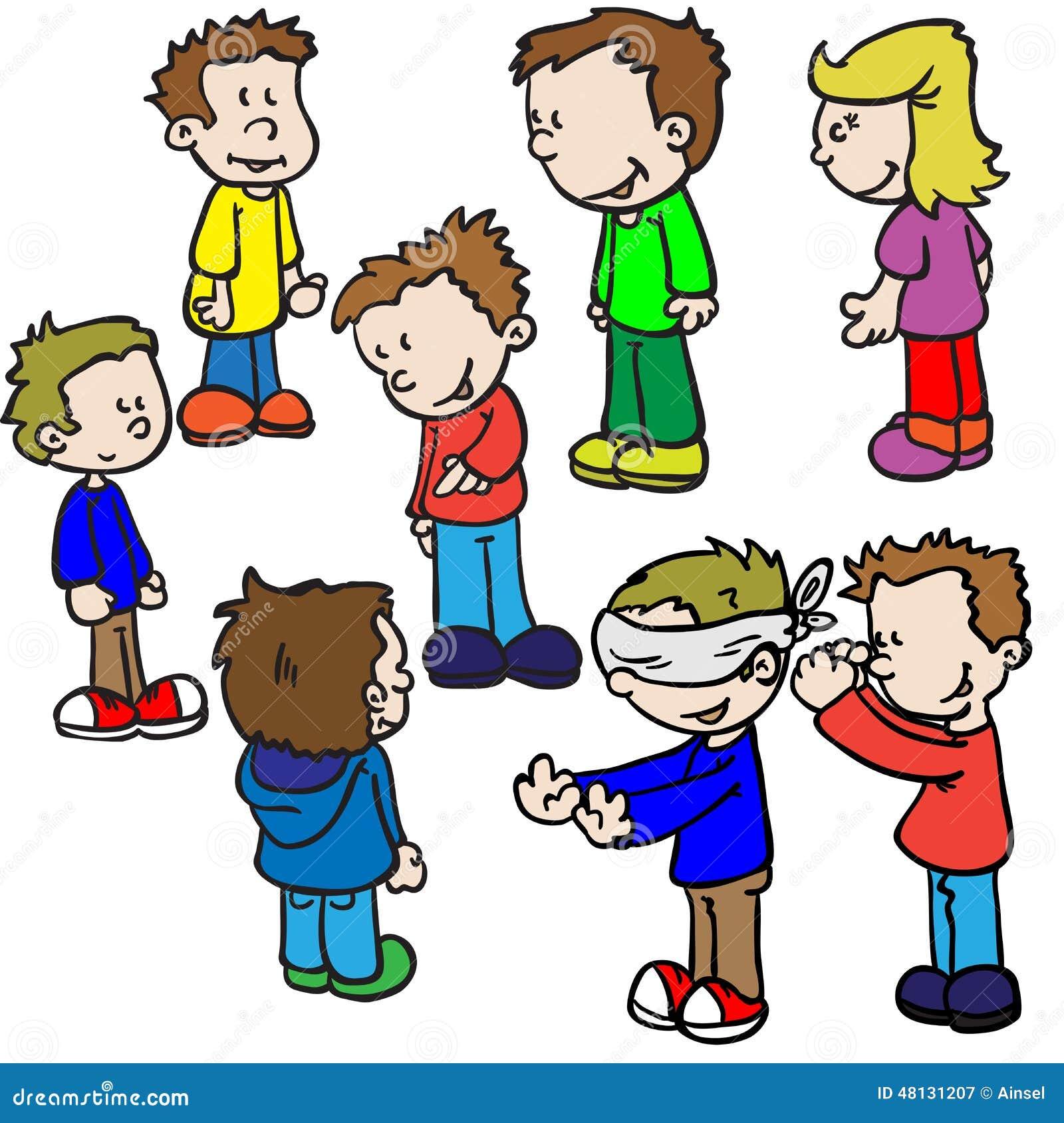 Crianças que jogam o lustre de homem cego