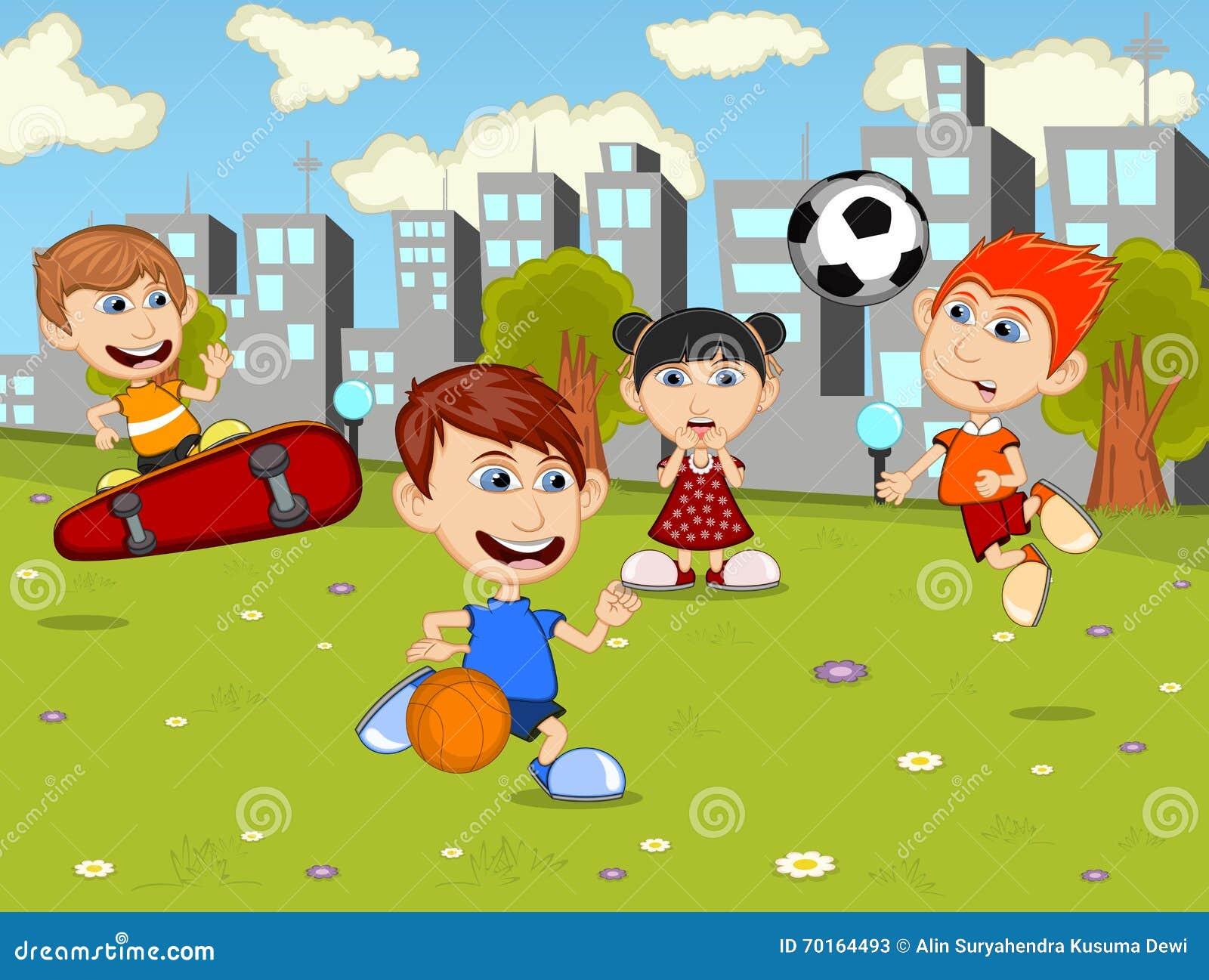 Crianças Que Jogam O Futebol Nos Desenhos Animados Do
