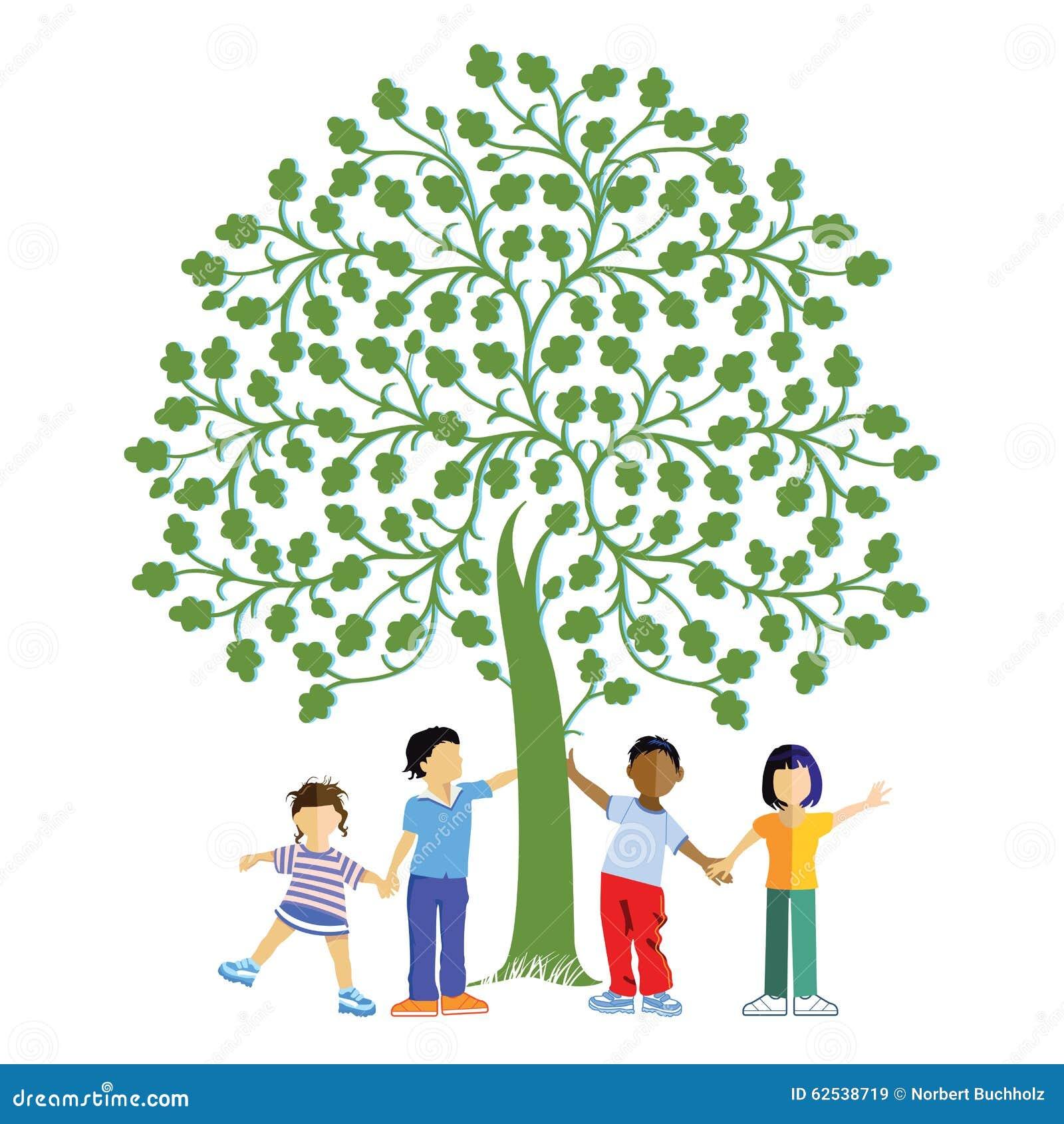 Crianças sob uma árvore
