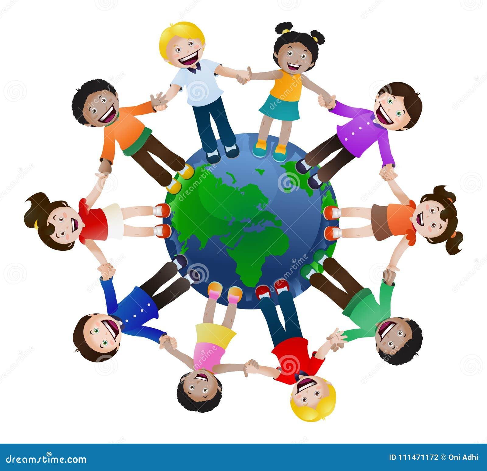 Crianças unidas guardando a mão em todo o mundo no isolado