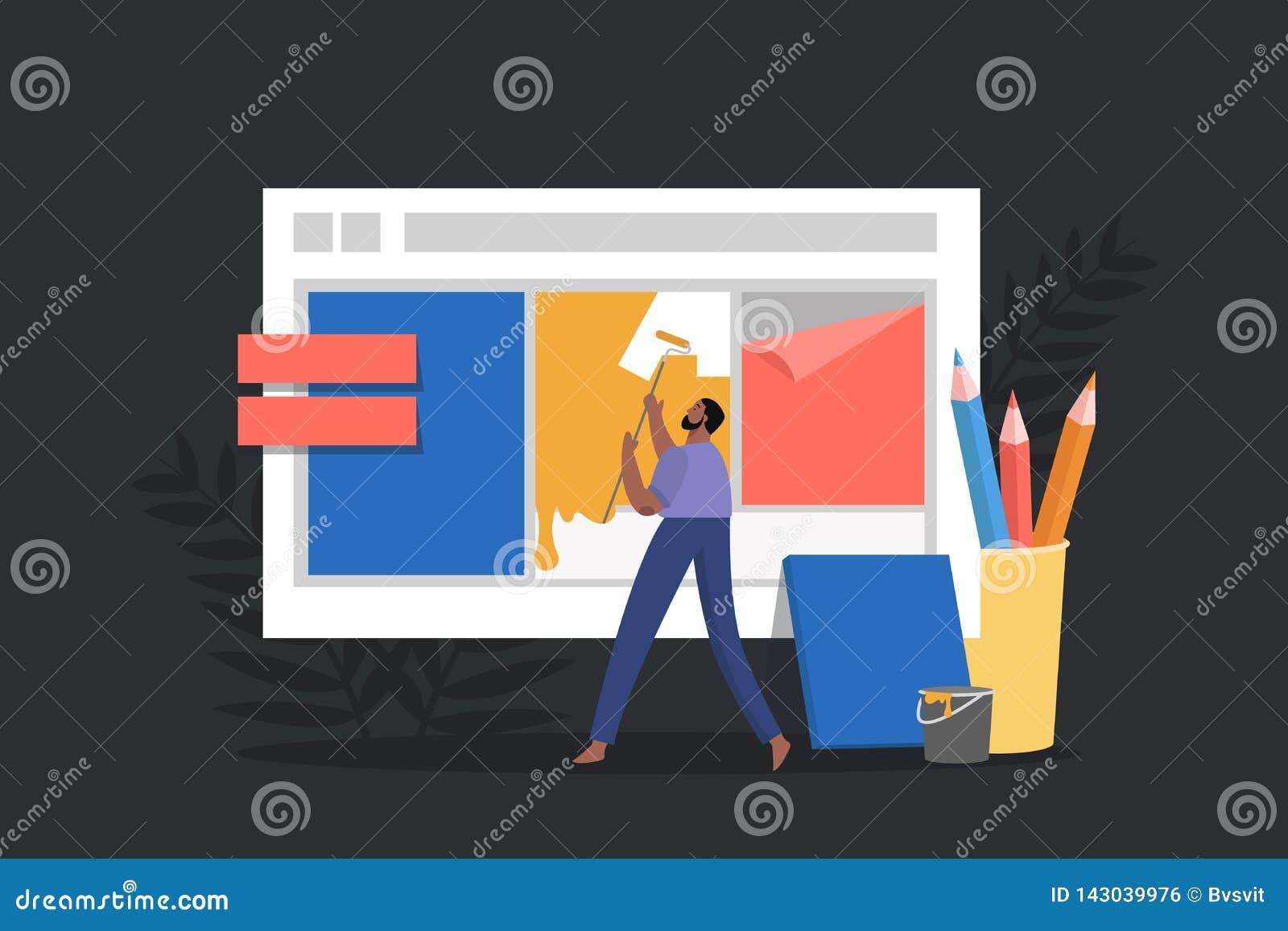 Criando um design web para o local O conceito em linha para o local de trabalho, homens cria uma página de aterrissagem