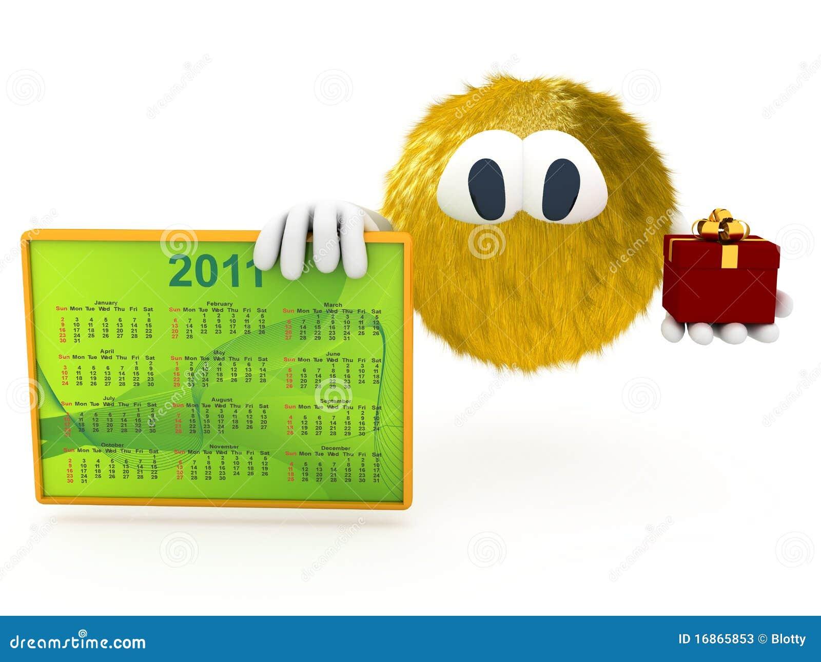 Criatura 3d com o calendário de 2011