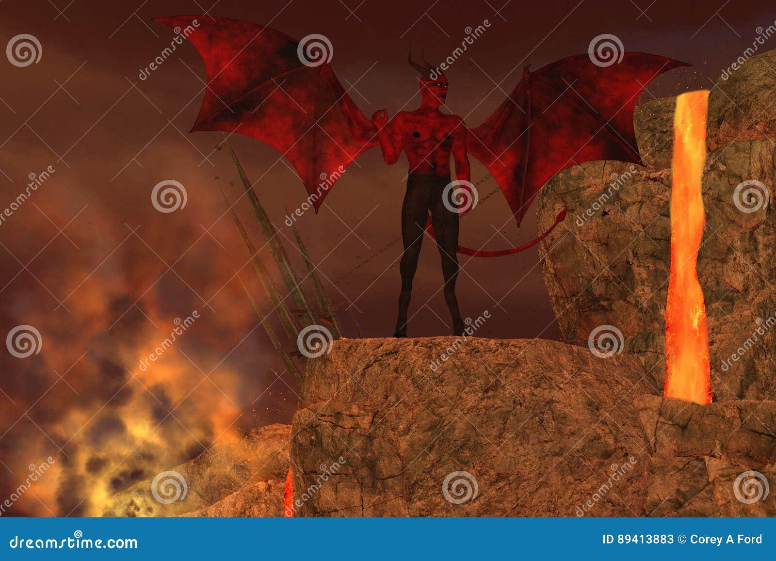 Criatura do diabo no inferno