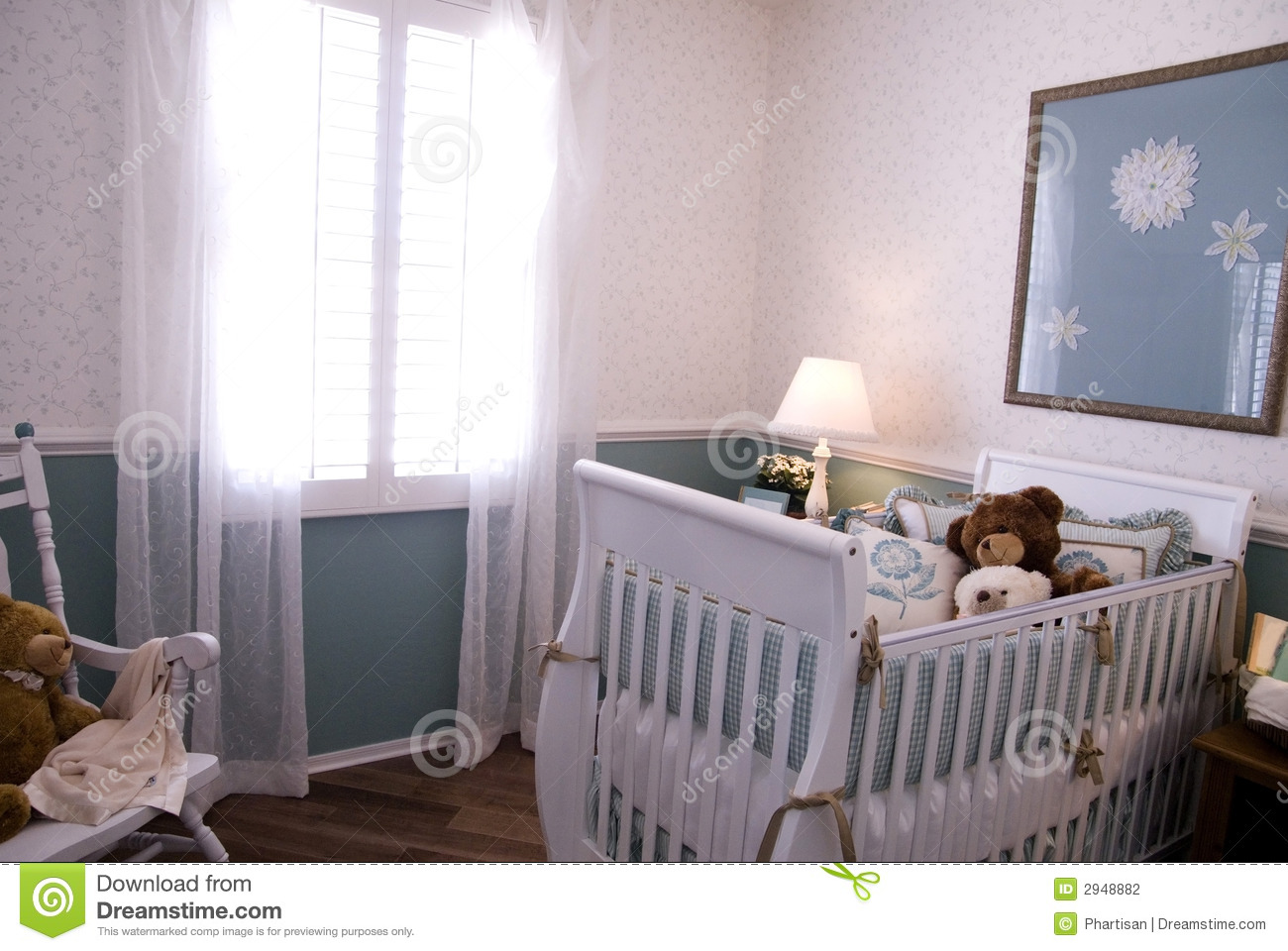 A Crib In A Baby Room Interior Stock Photography Image
