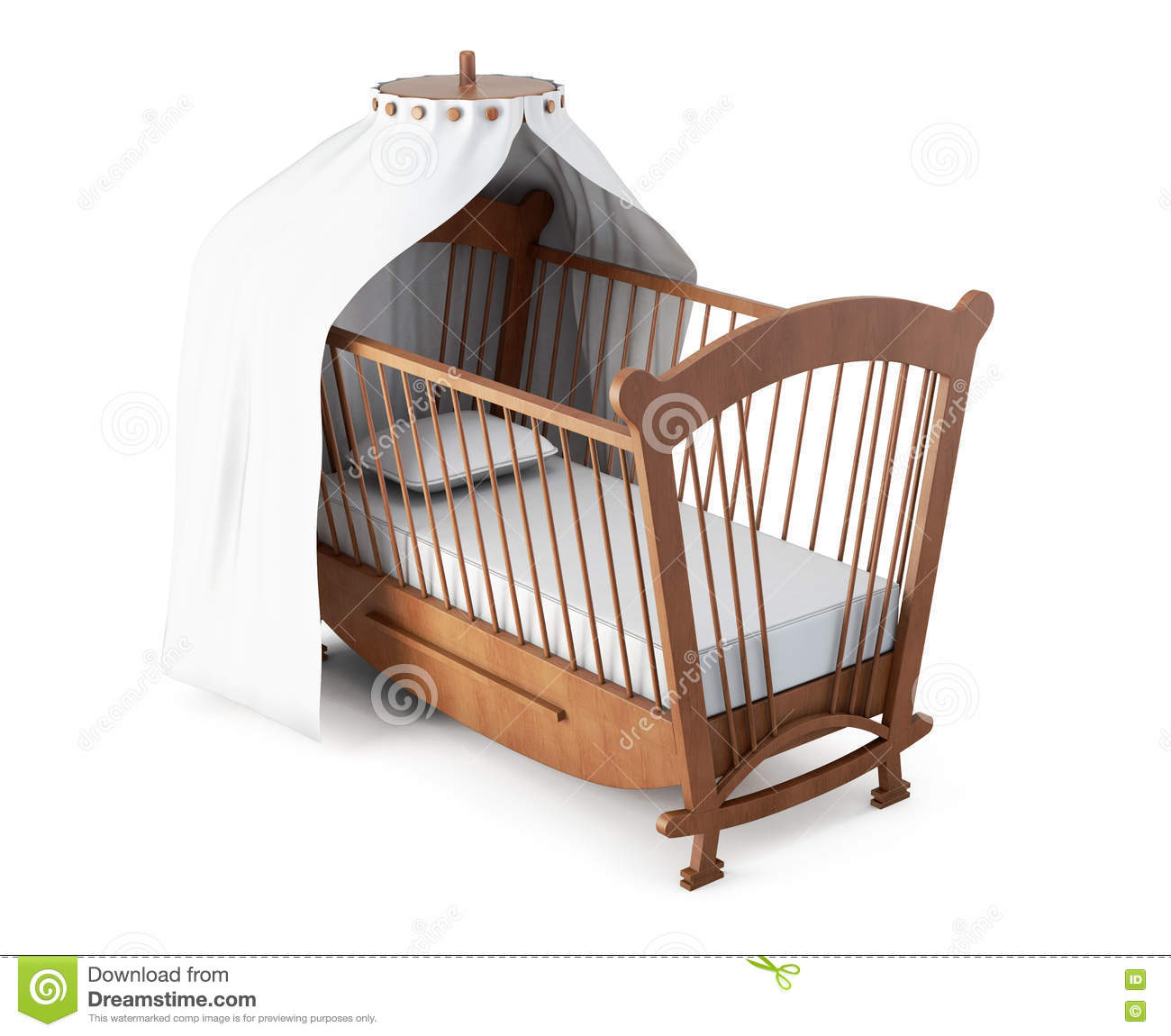 Crib with canopy on white background 3d rendering stock for White canopy crib