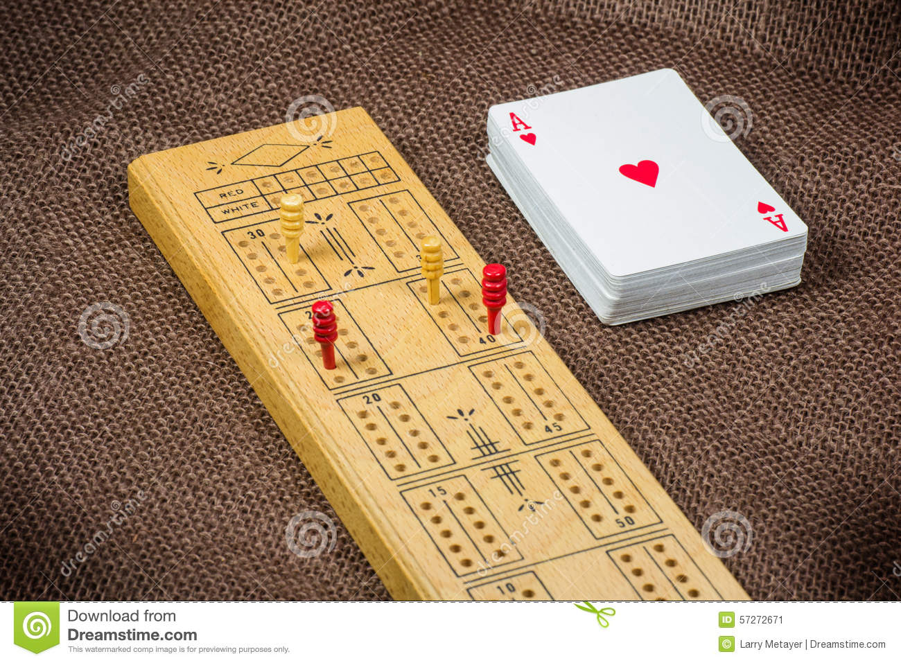 Cribbage board and cards stock photo image