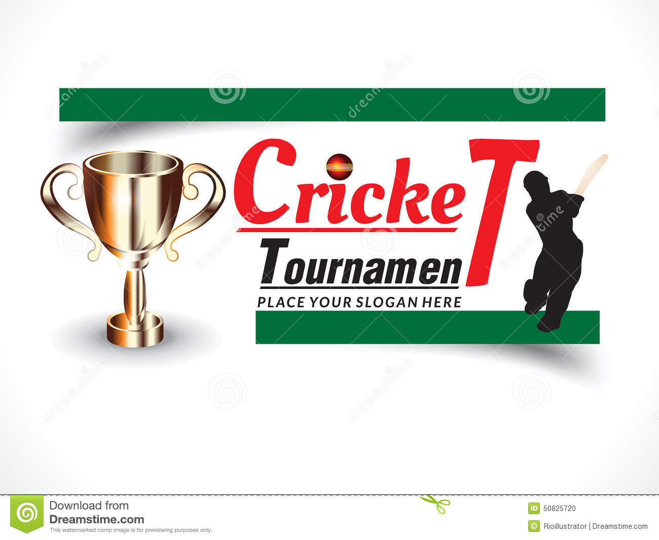 Invitation For Corporate Cricket Tournament: Cricket Banner Background With Batsman Stock Vector