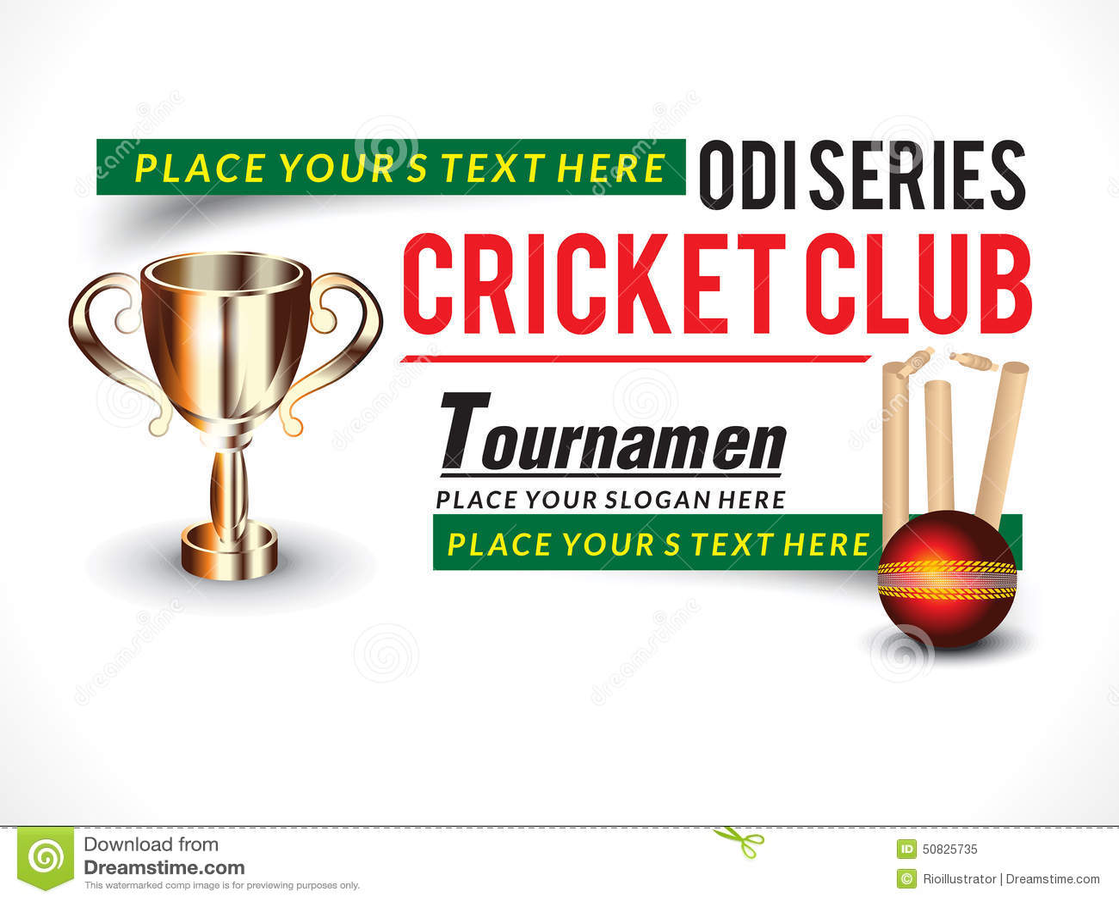 Cricket Tournament Anouncment Wording: Cricket Banner With Trophy Stock Vector. Image Of