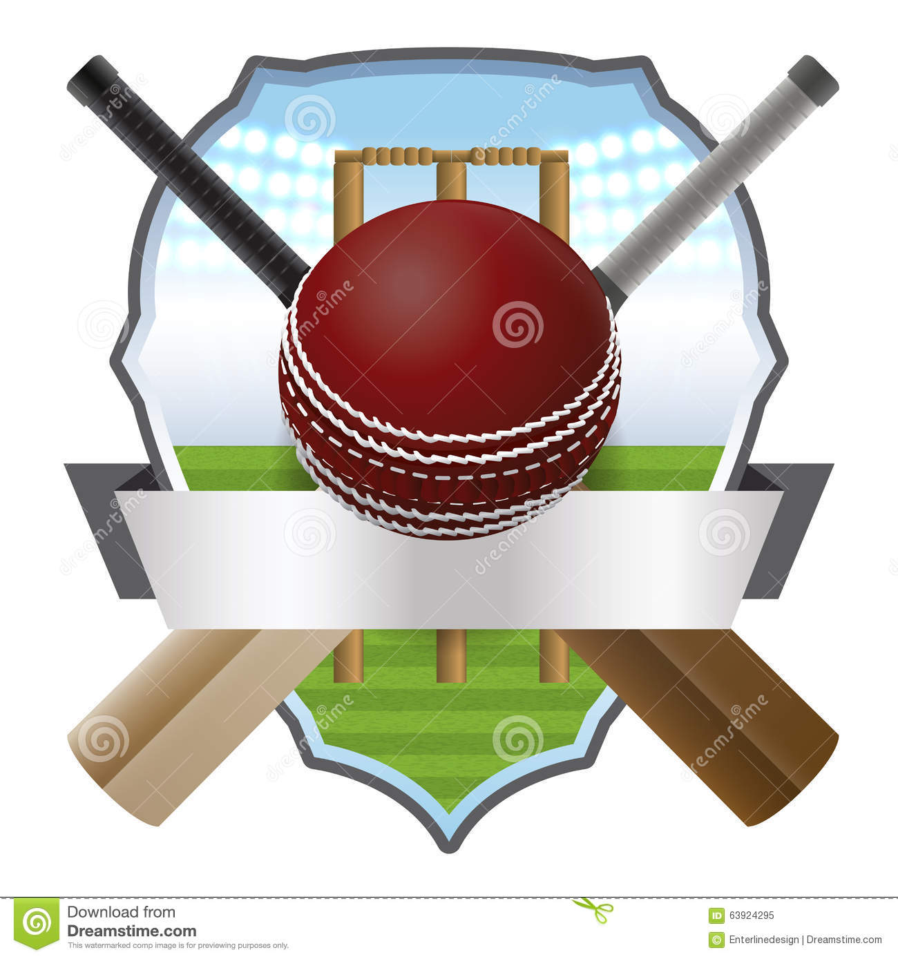 Cricket ball and bat and wicket