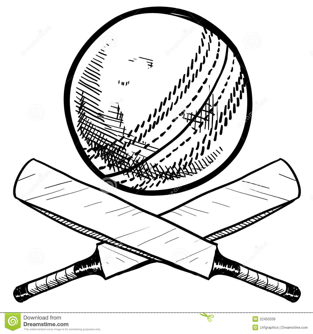 cricket bat and ball drawing - Easy Sports Drawings