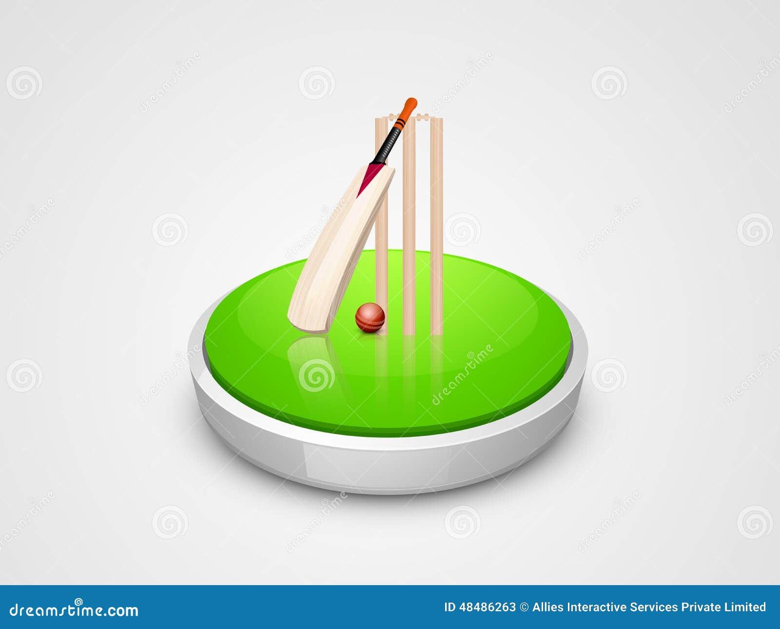 Cricket Bat, Ball And Wicket Stumps. Stock Illustration ...