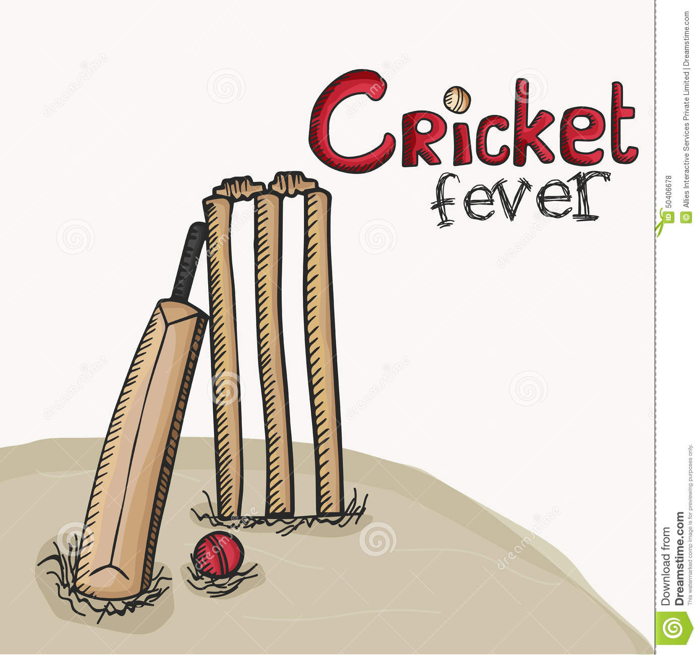Cricket Bat With Ball And Wicket Stumps. Stock Photo - Image: 50406678