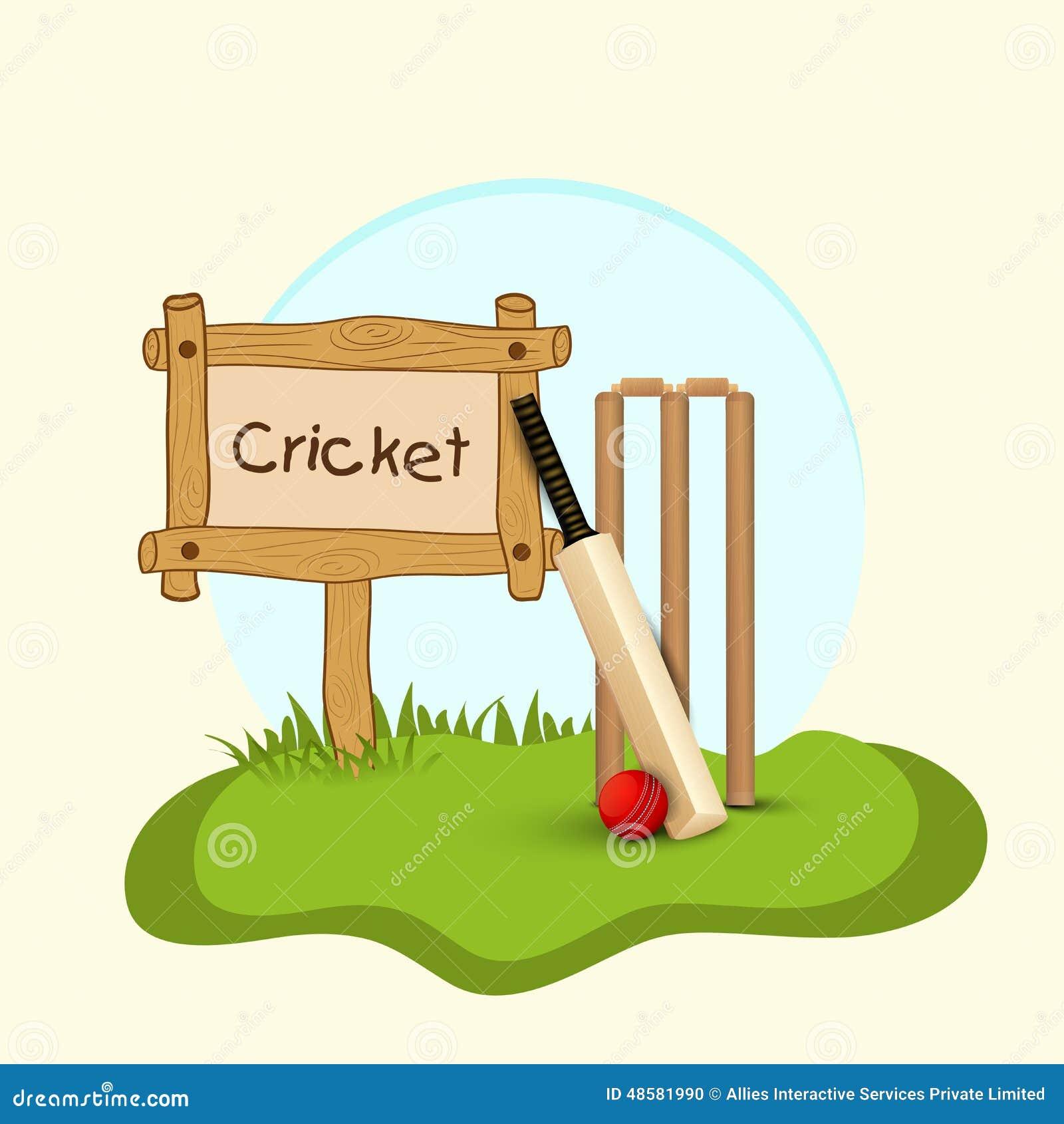 Cricket Bat, Ball And Wicket Stumps. Stock Photo - Image ...