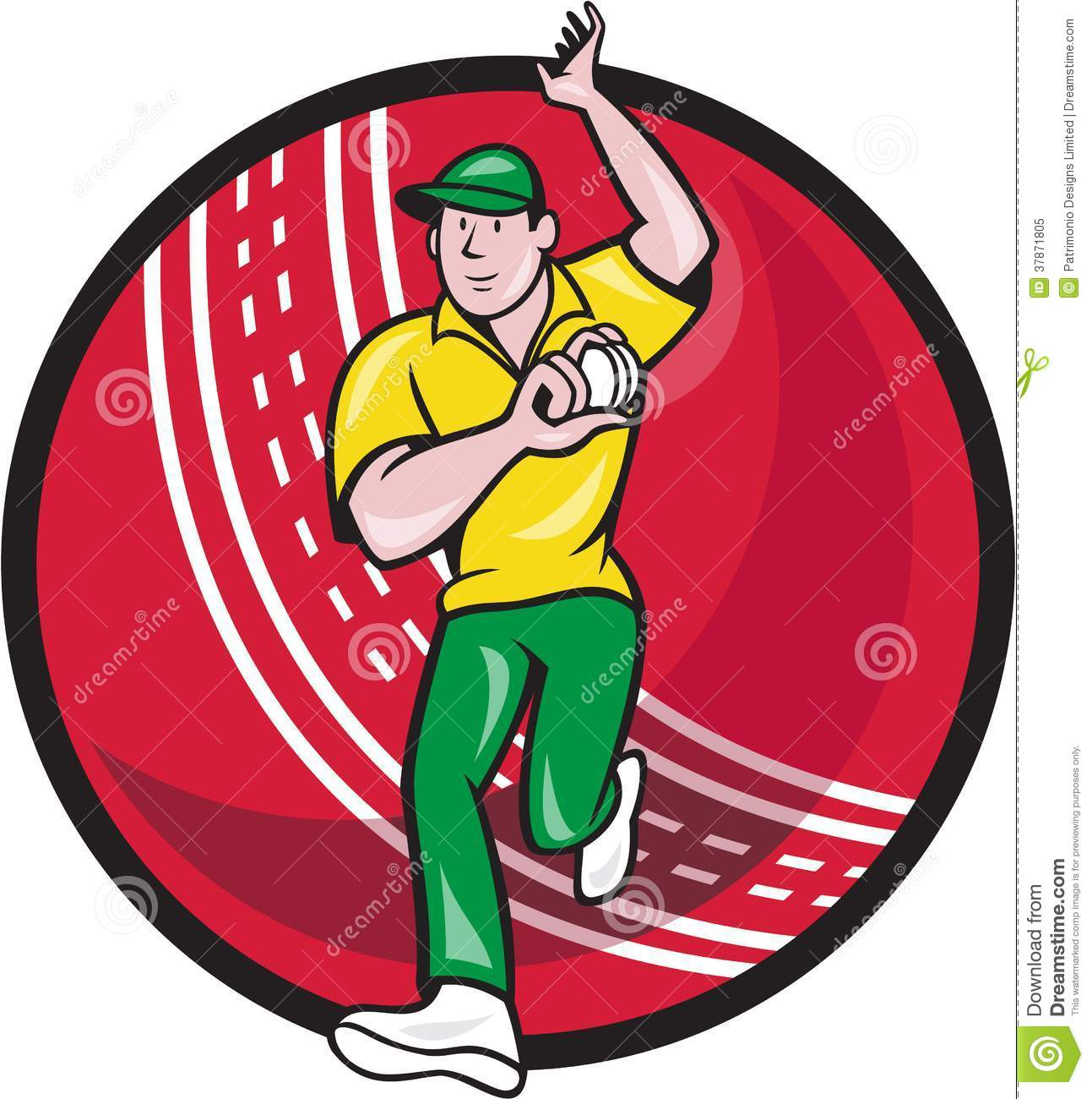 Illustration of a cricket player fast bowler bowling with cricket ball ...