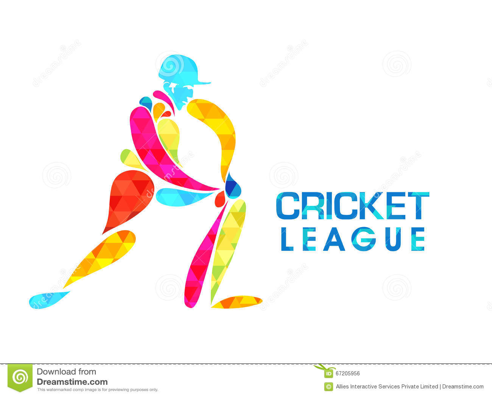 Cricket Vector Background Stock Image: Cricket League Concept With Batsman. Stock Illustration