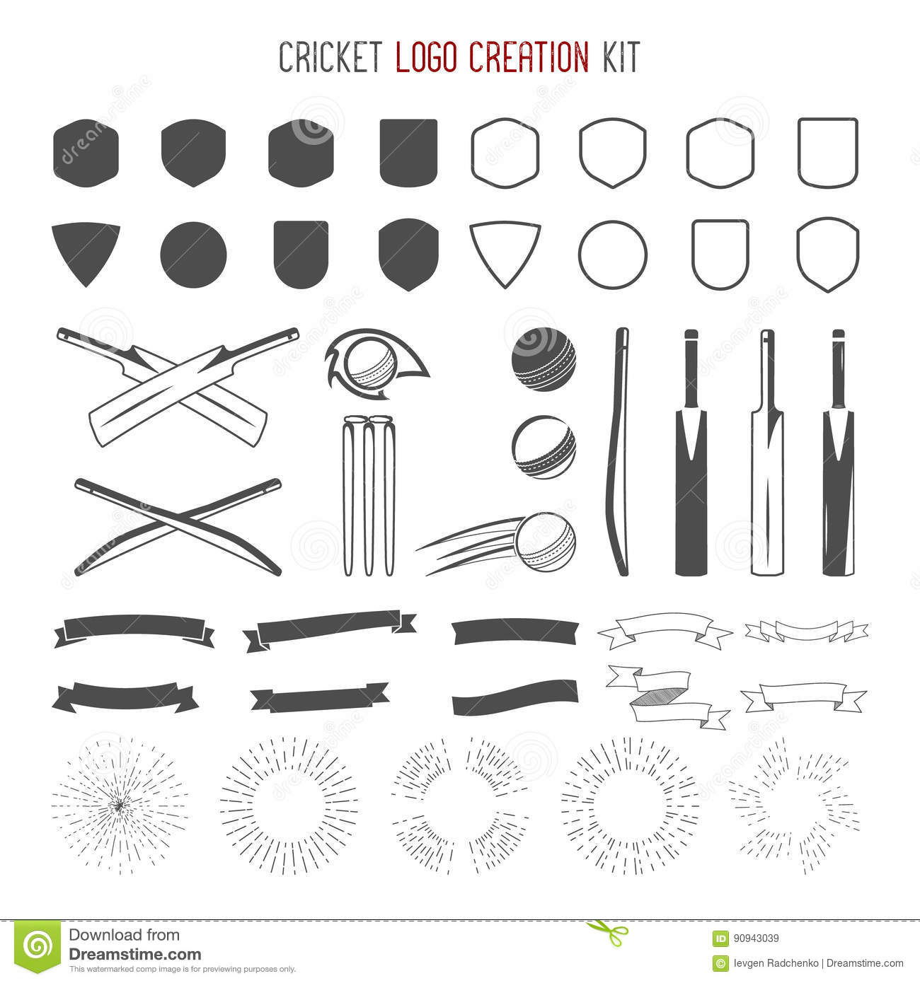 Cricket Logo Creation Kit Sports Designs Icons Set Create Your