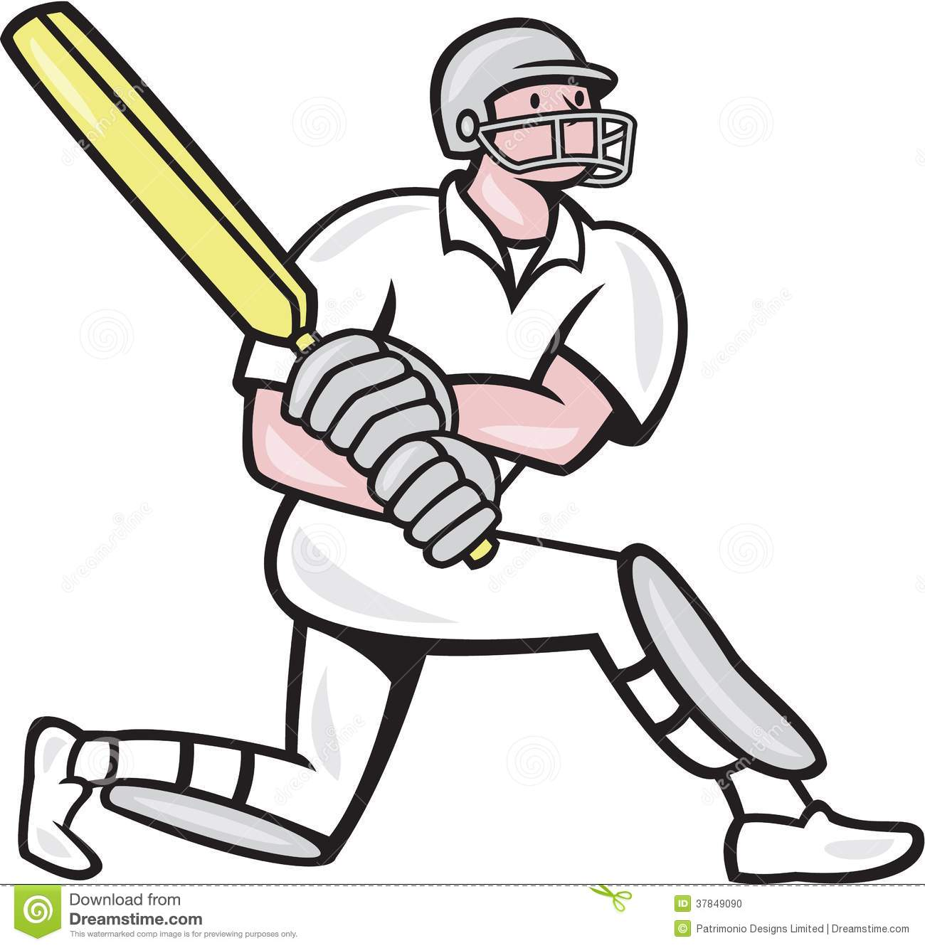 Illustration of a cricket player batsman with bat batting kneel done ...