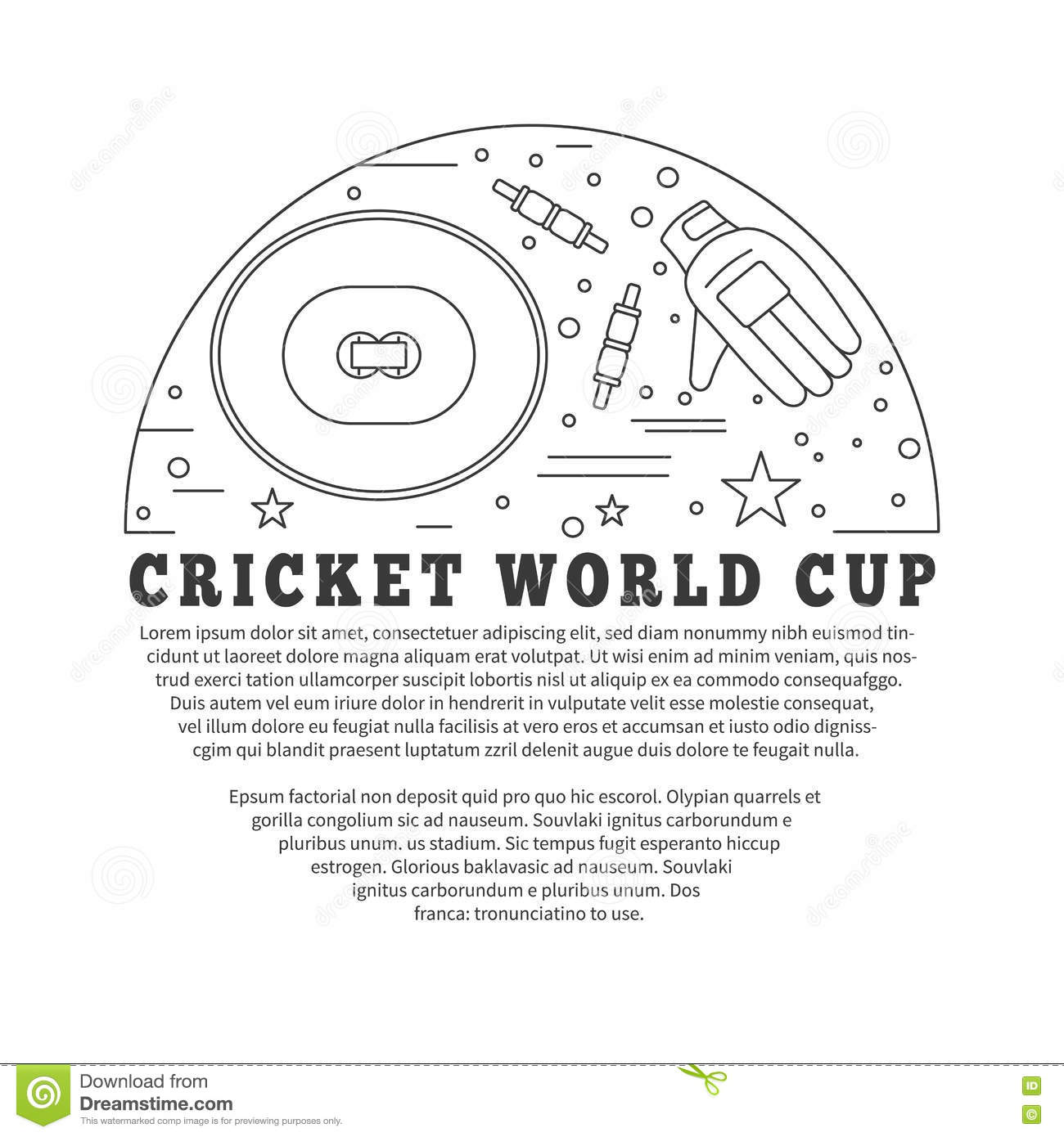 Cricket Sport Game Graphic Design Concept Stock Vector - Concept document game design