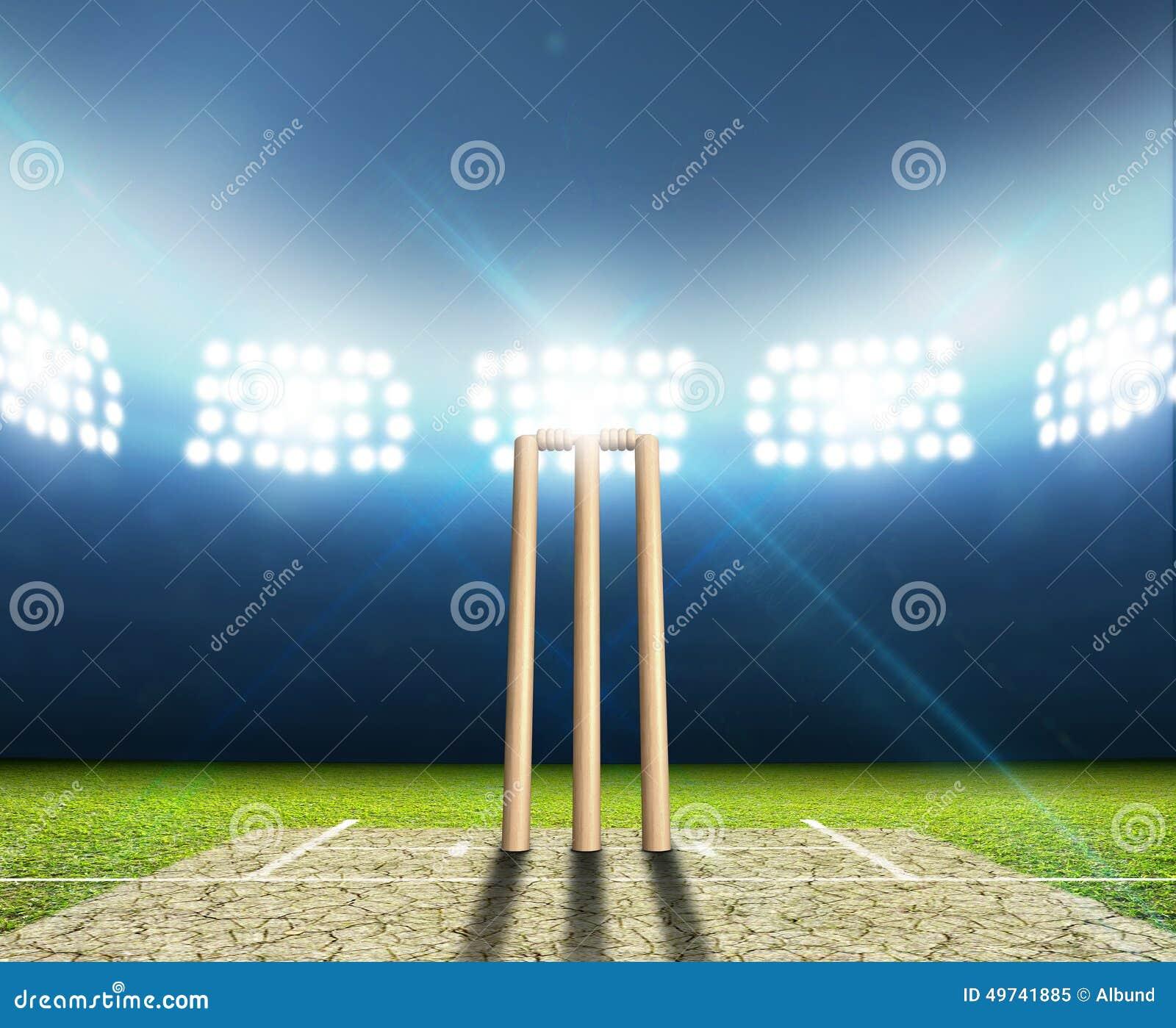 Stadium Lights Svg: Cricket Stadium And Wickets Stock Illustration