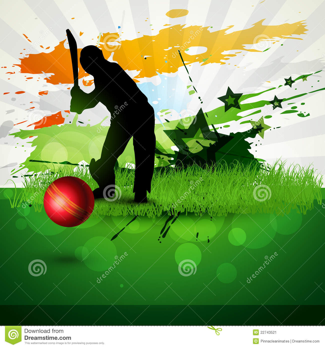 Cricket Vector Background Stock Vector. Illustration Of