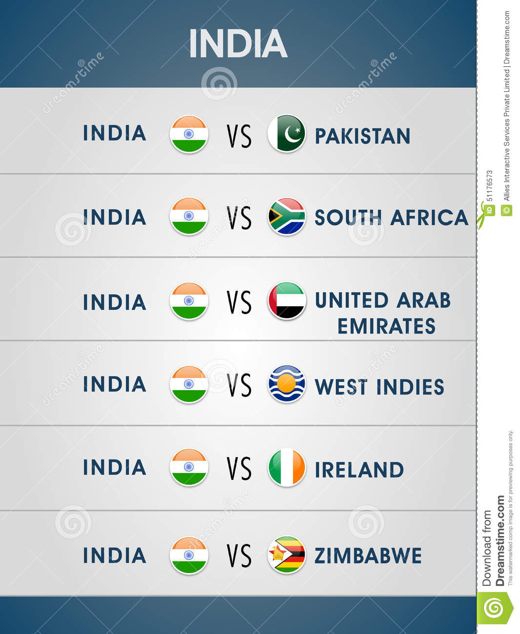 Cricket World Cup 2015 Matches Schedule Stock Illustration