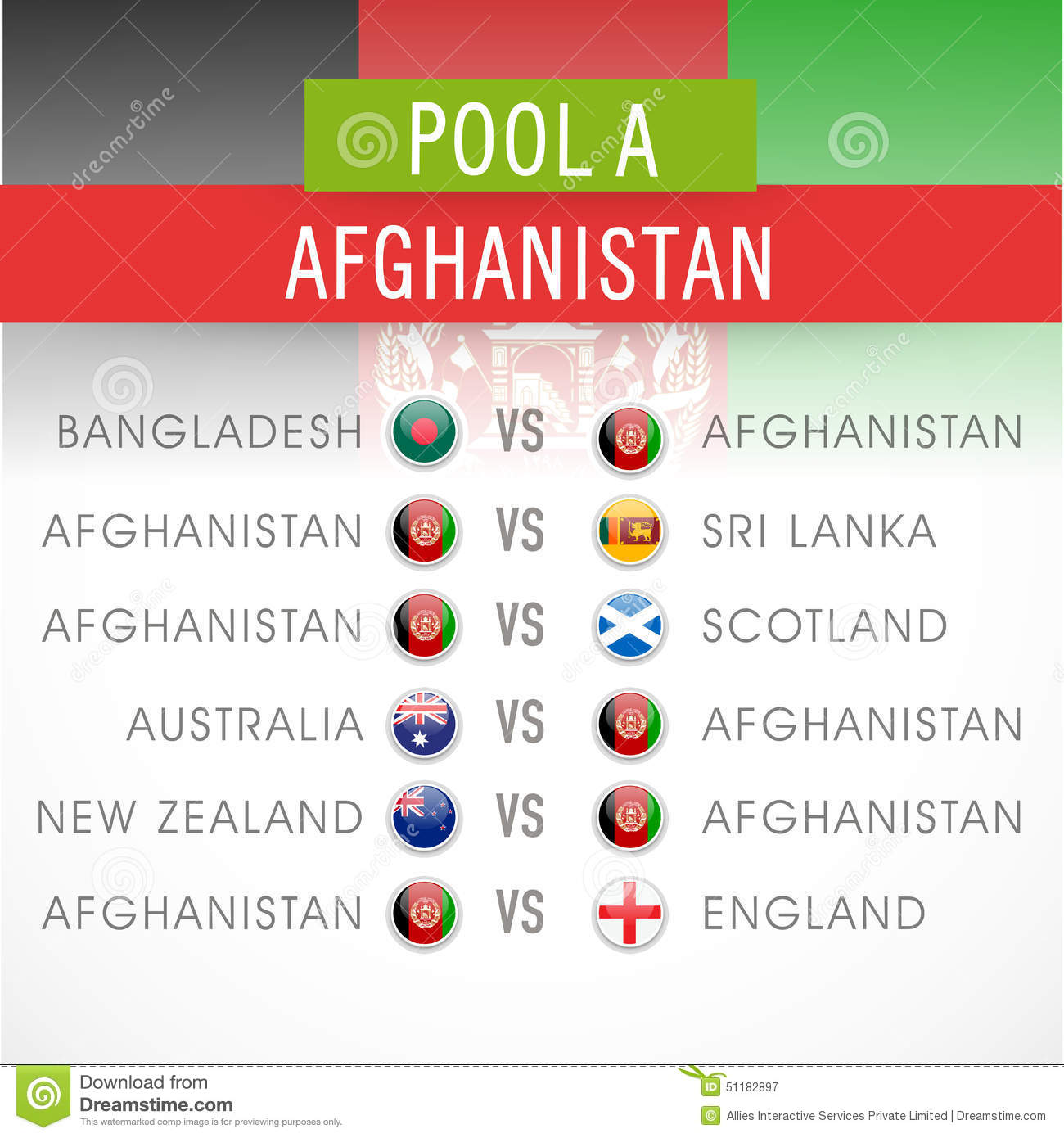 Cricket World Cup 2015 Time Table Stock Illustration
