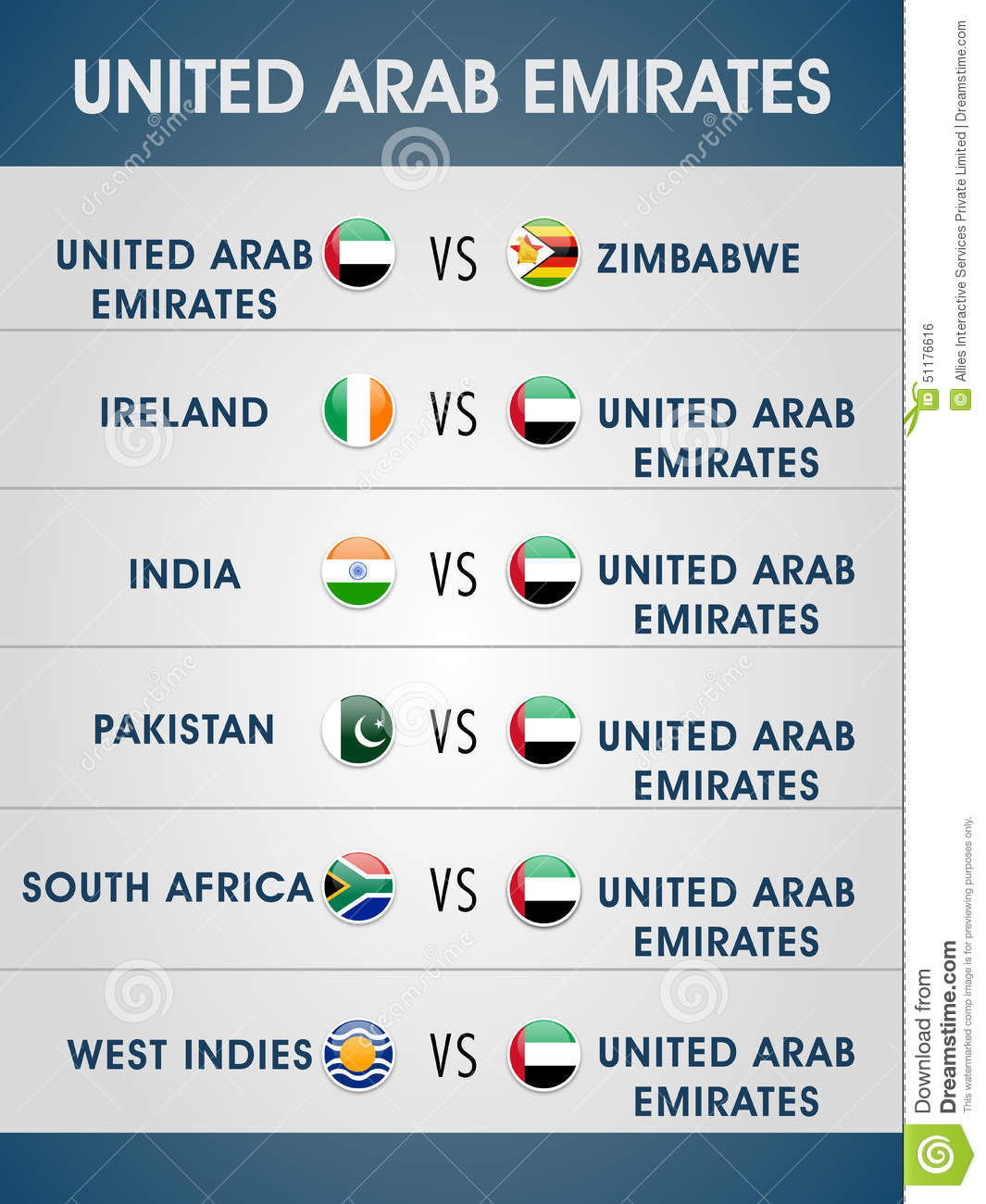 Cricket World Cup 2015, UAE Matches Schedule  Stock