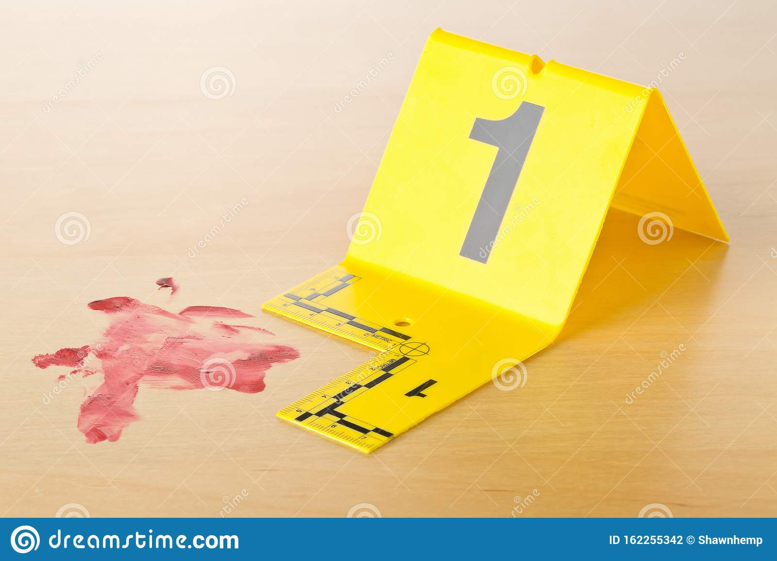 Crime Scene Investigation Csi Evidence Marker With Blood Spot On Wood Floor Background At Crime Scene Police Evidence Or Stock Photo Image Of Killed Security 162255342
