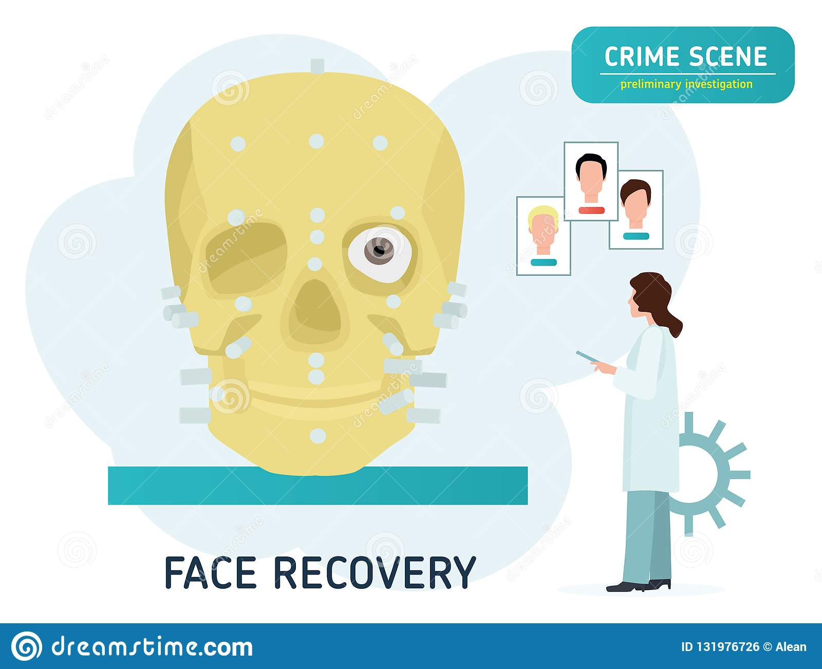 Crime Scene Investigation Restoration Of The Face On The Skull Forensic Examination Concept Banner Flat Cartoon Stock Vector Illustration Of Examination Analyze 131976726