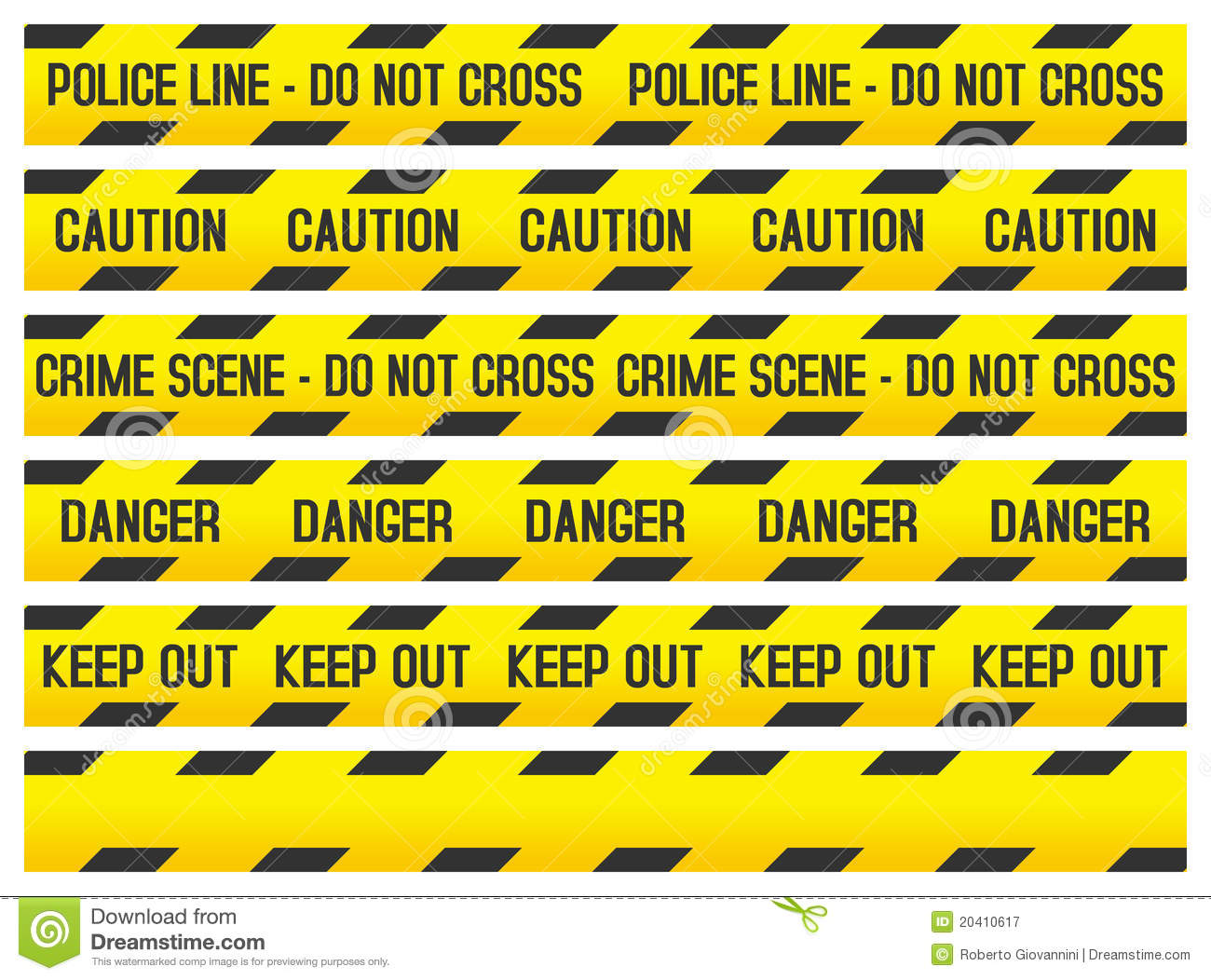 Crime Scene And Police Tapes Stock Vector Illustration