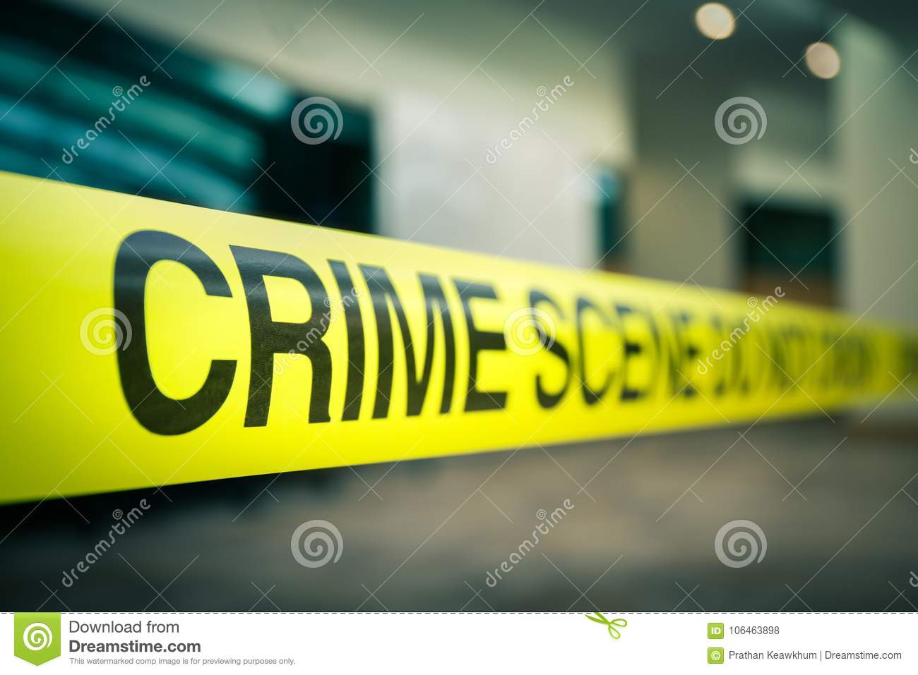 Crime scene tape of mysterious case in cenematic tone with copy