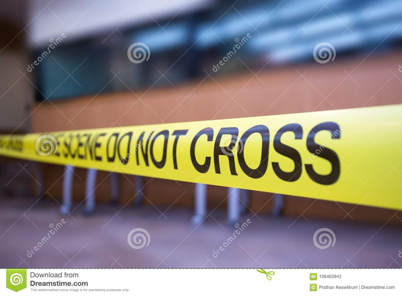 Crime scene tape of mysterious case with copy space