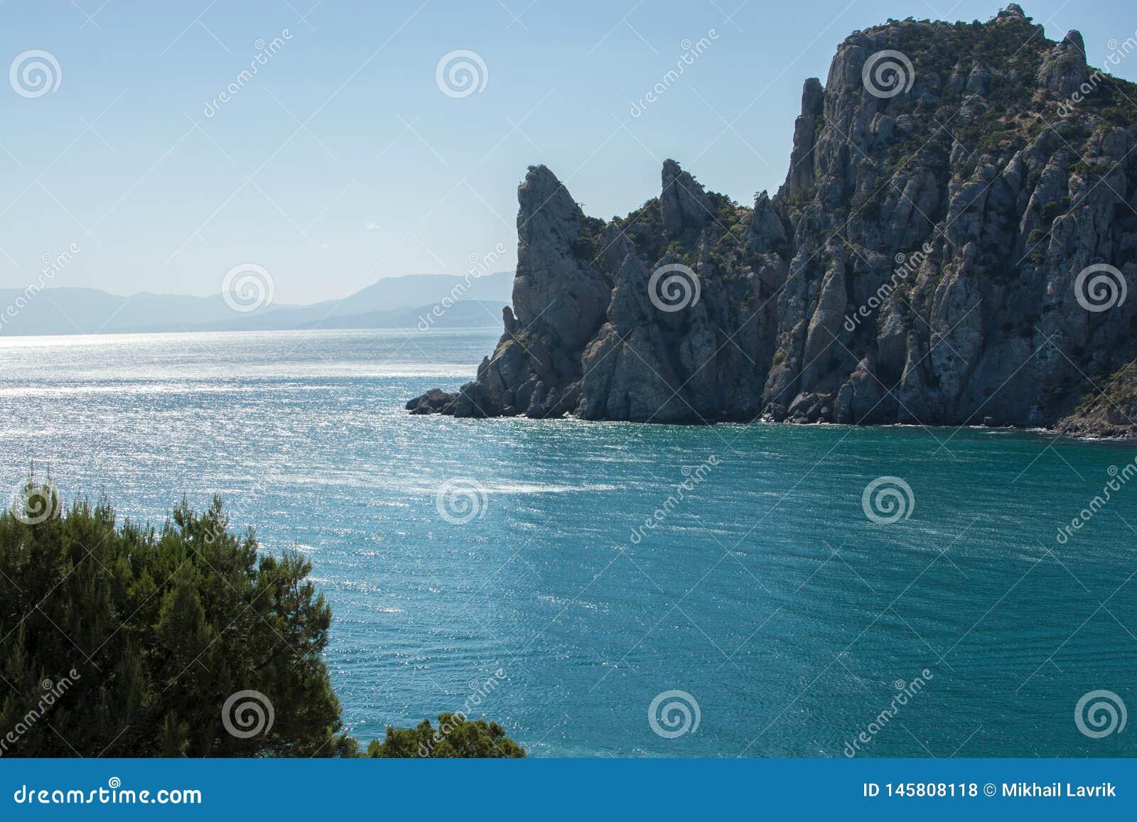 Summer in Crimea. Rock and sea.