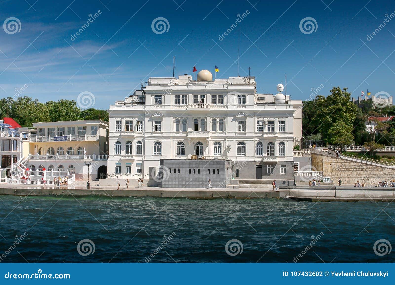 Crimea för crimea för fartyg central kaj sevastopol ukraine hamn Sevastopol invallningsikt från havet