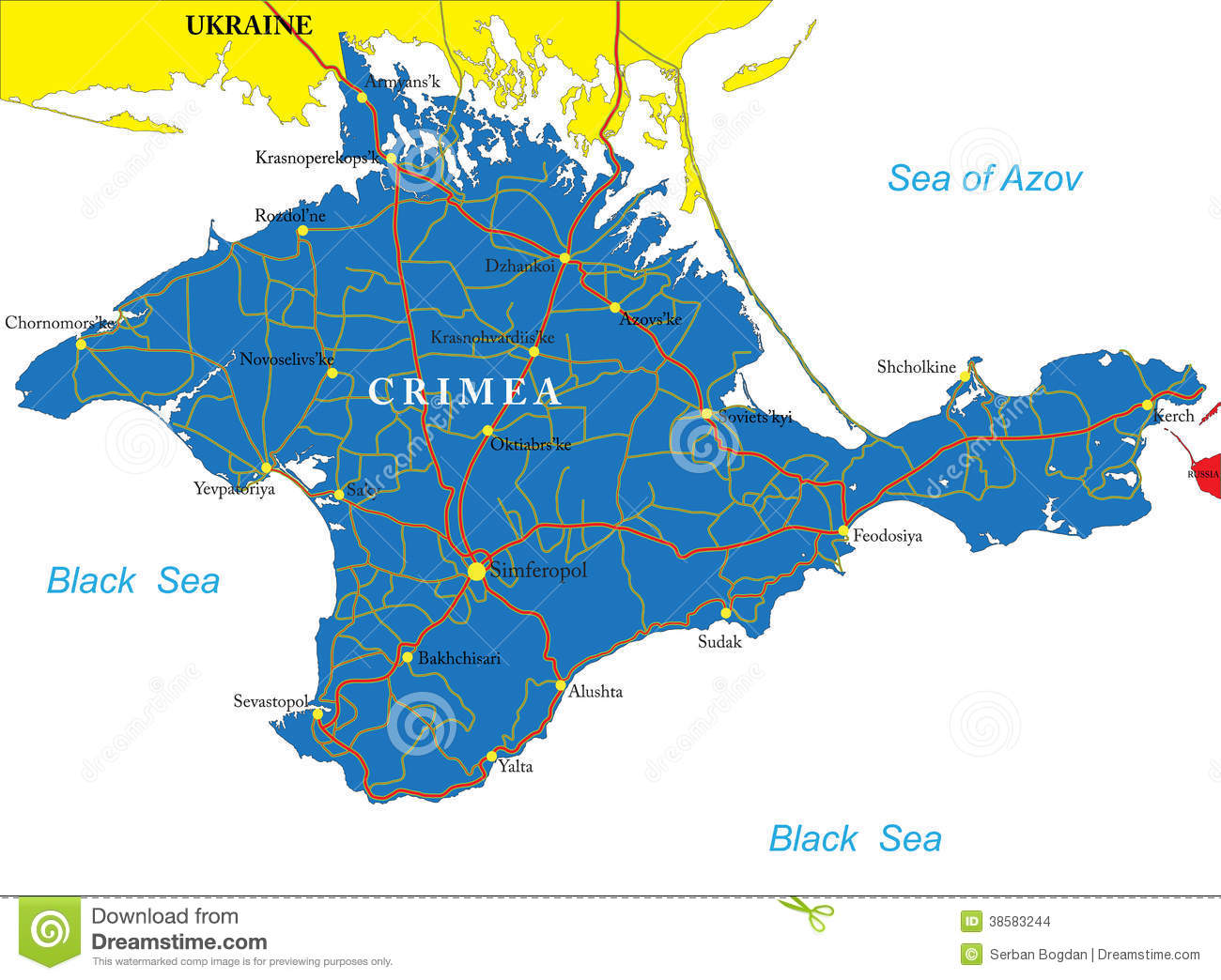 The City Of Simferopol On Map Of Crimea Stock Illustration