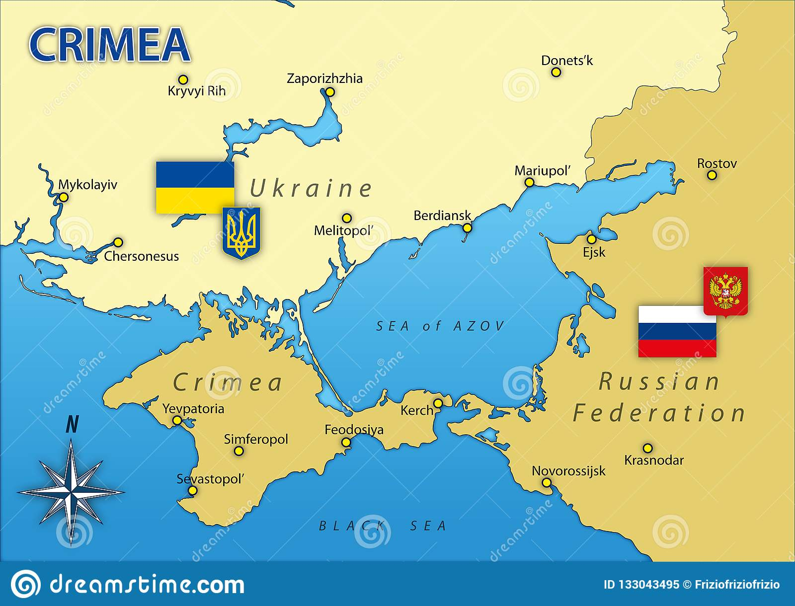 Crimea Peninsula Map With Borders And Flags Russia And Ukraine Stock