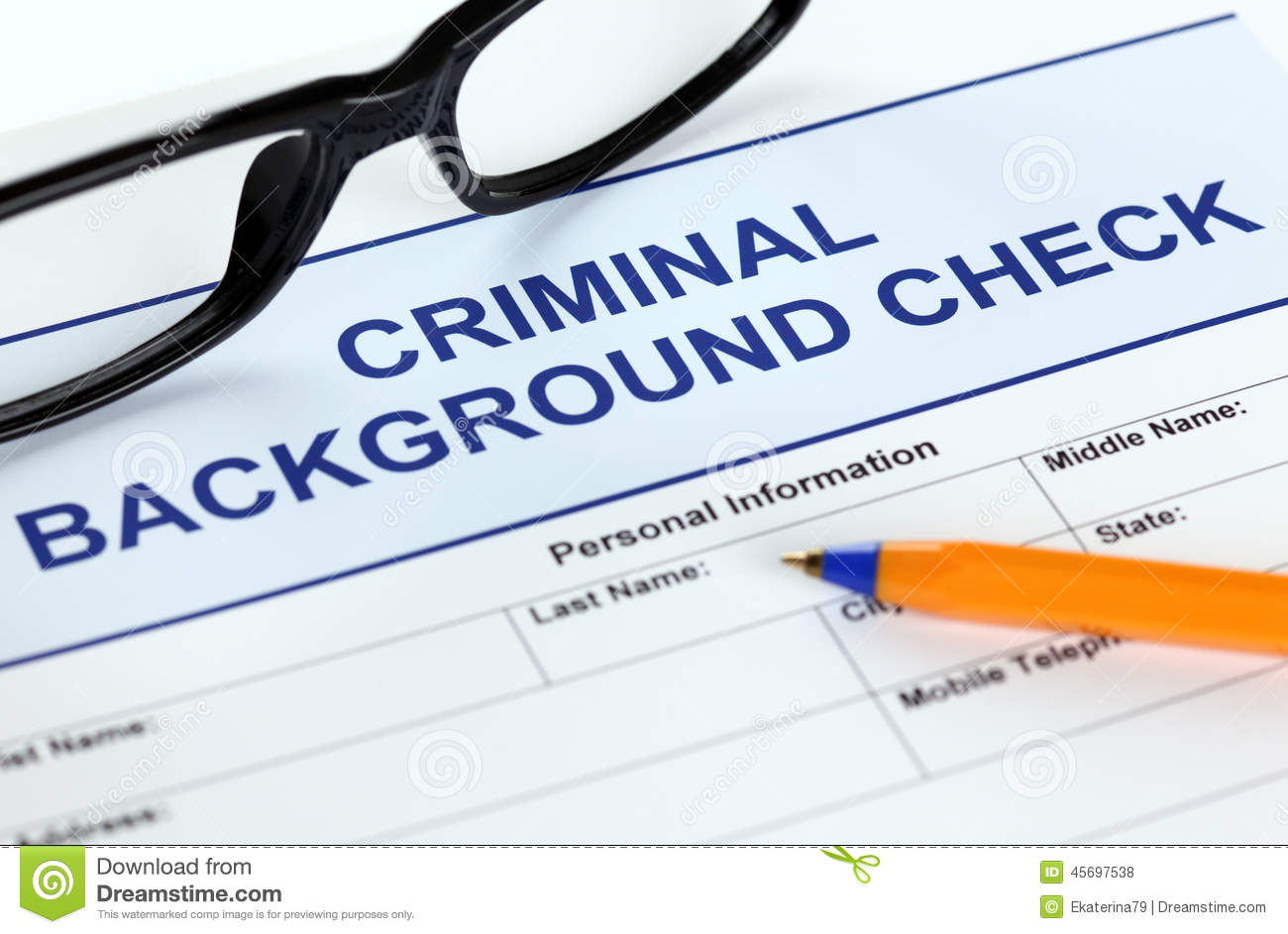 Criminal Background Check Application Form Stock Photo ...